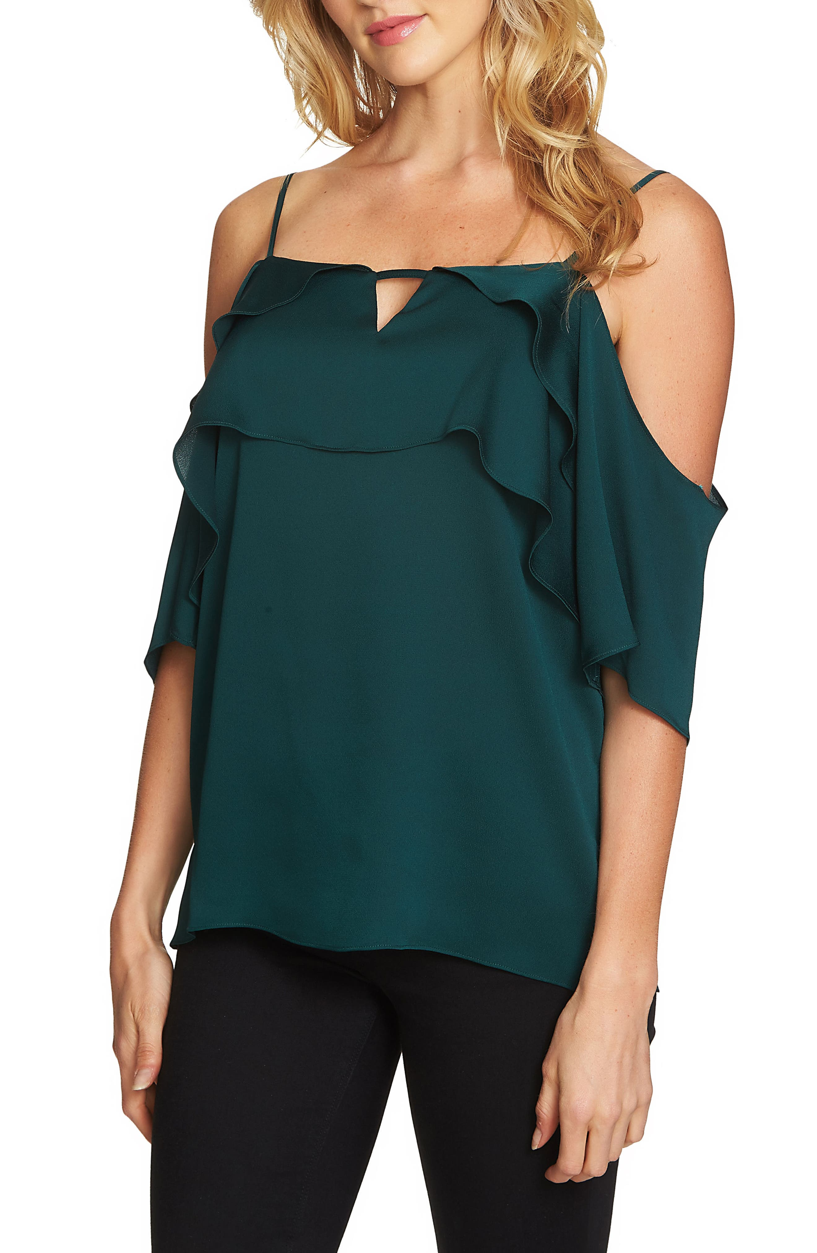 1.STATE Tiered Cold Shoulder Top
