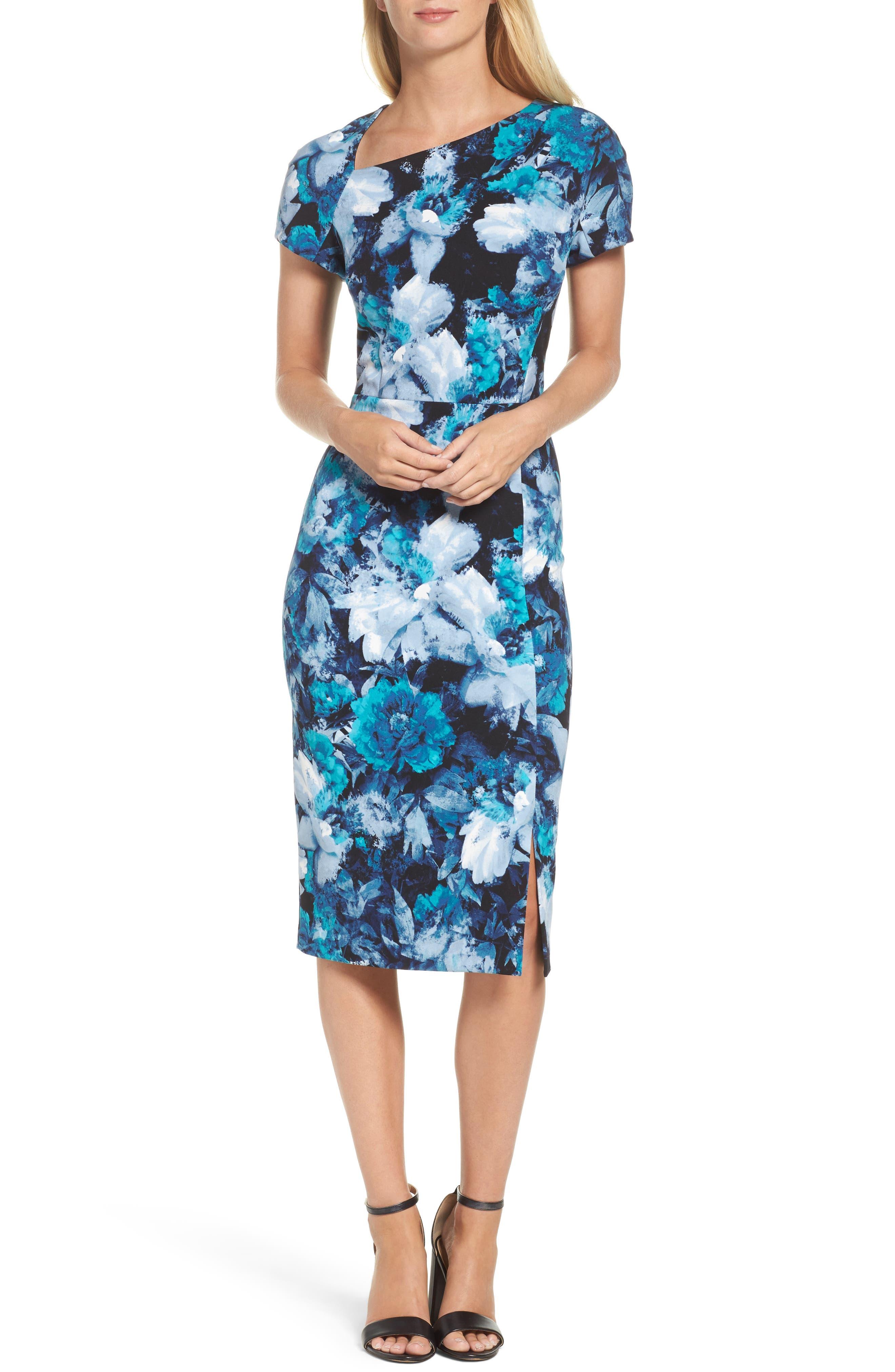 Asymmetrical Sheath Dress,                         Main,                         color, Black/ Blue