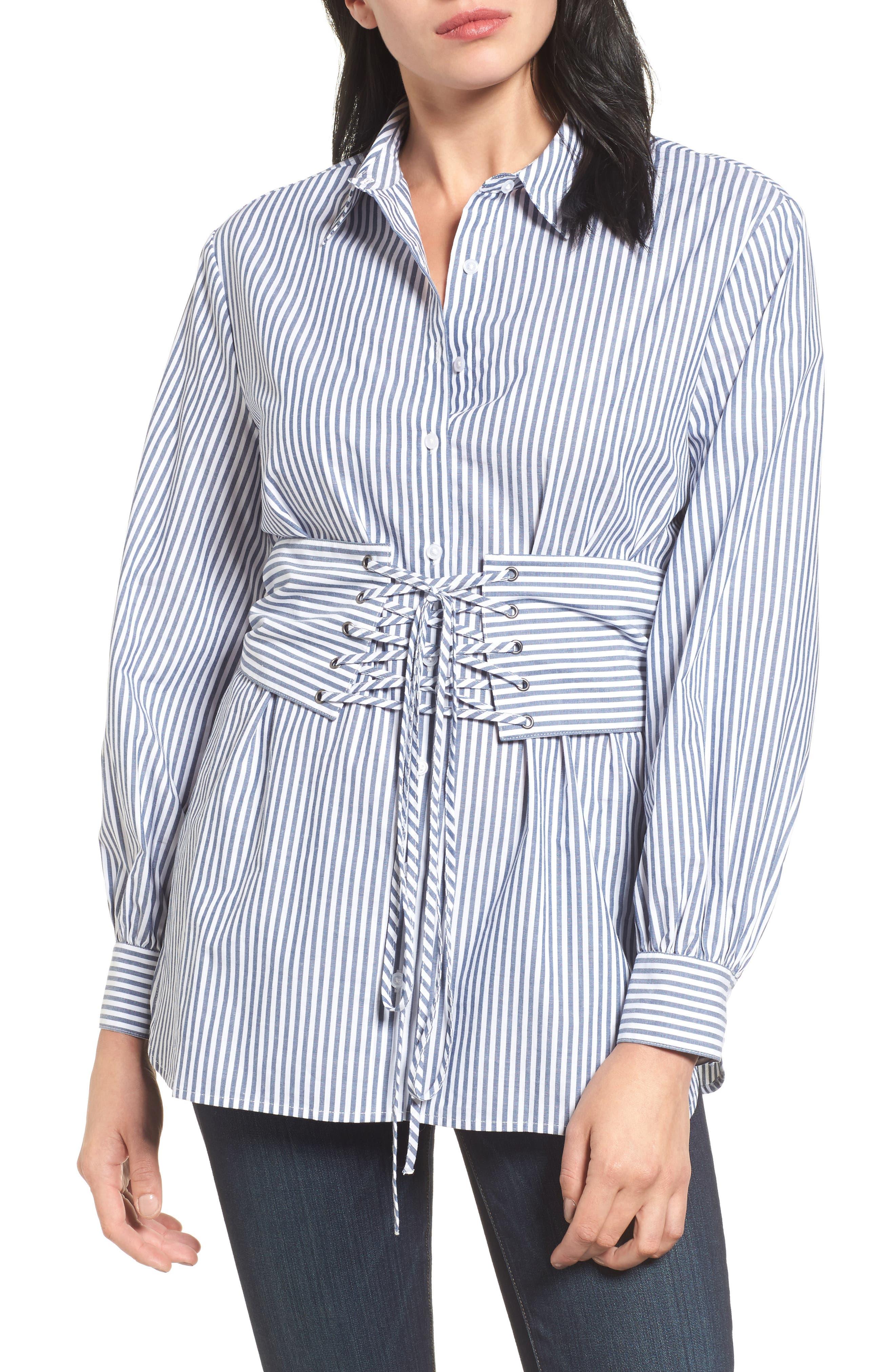 Poplin Corset Blouse,                             Main thumbnail 1, color,                             Blue/ White Stripe