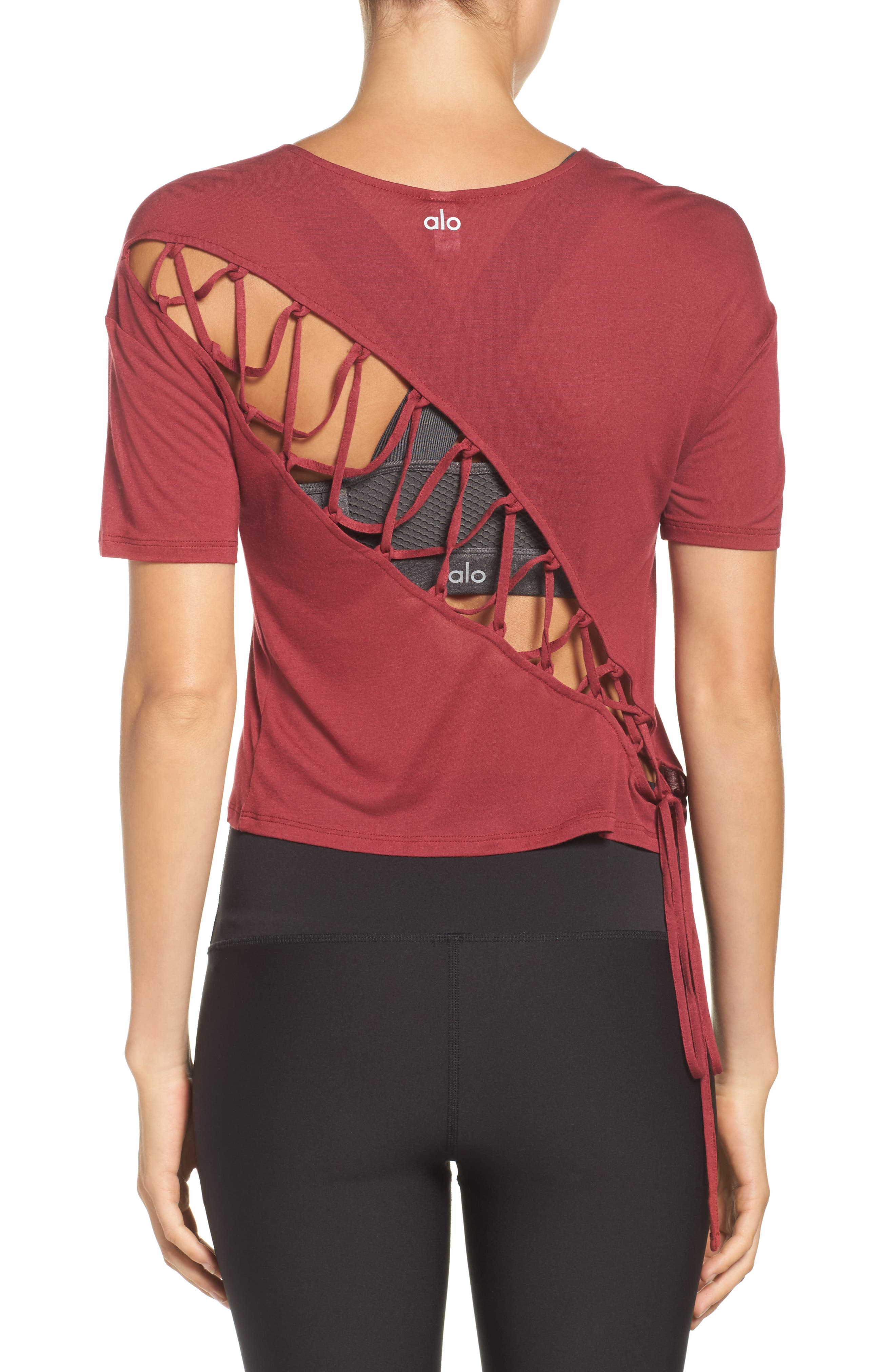 Entwine Crop Tee,                             Main thumbnail 1, color,                             Red Velvet