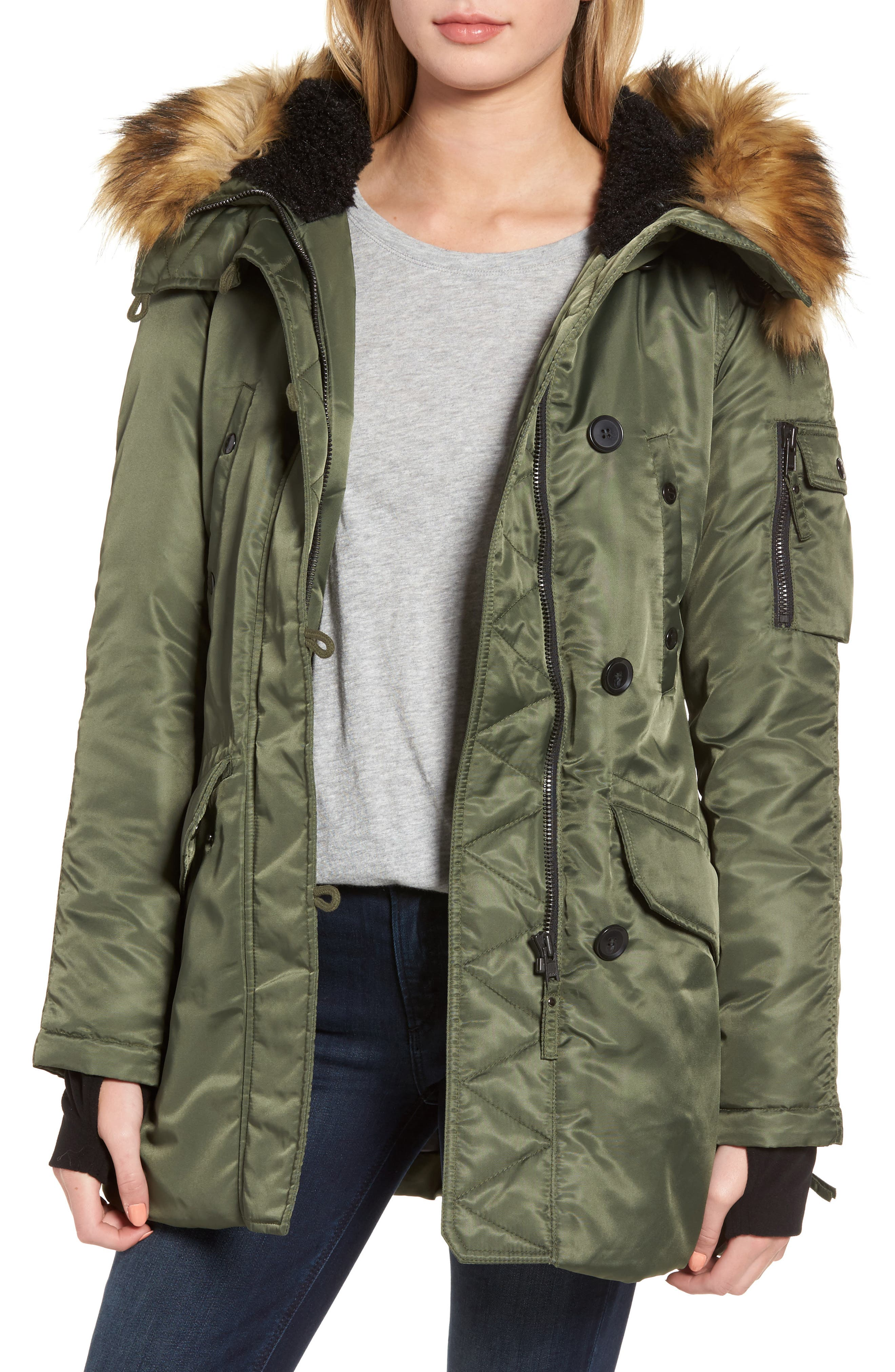 SAM. Iceberg Water Repellent Hooded Parka with Faux Fur Trim