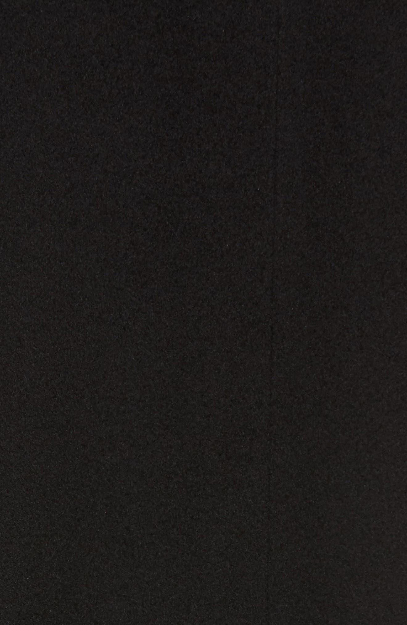 Loro Piana Wool Wing Collar Coat with Genuine Mink Trim,                             Alternate thumbnail 5, color,                             Black