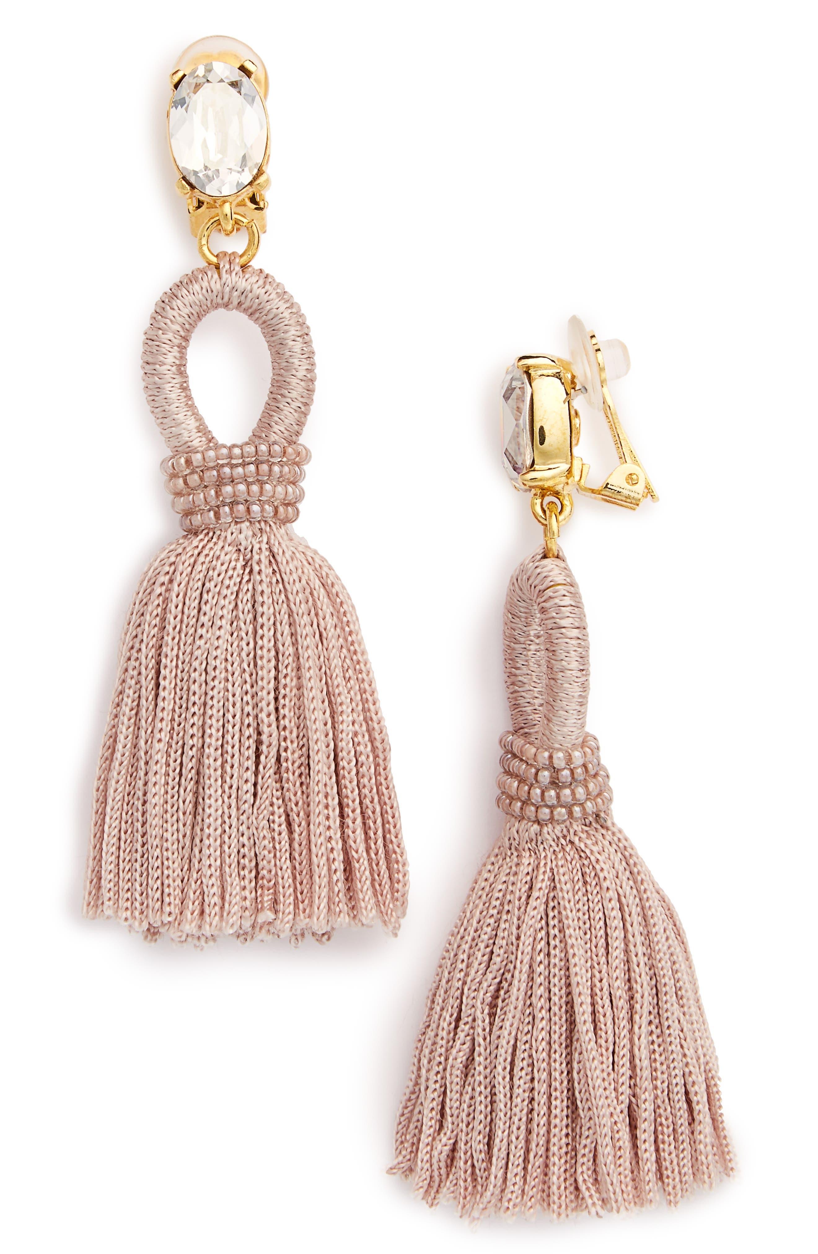 Silk Tassel Drop Earrings,                             Main thumbnail 1, color,                             Dove