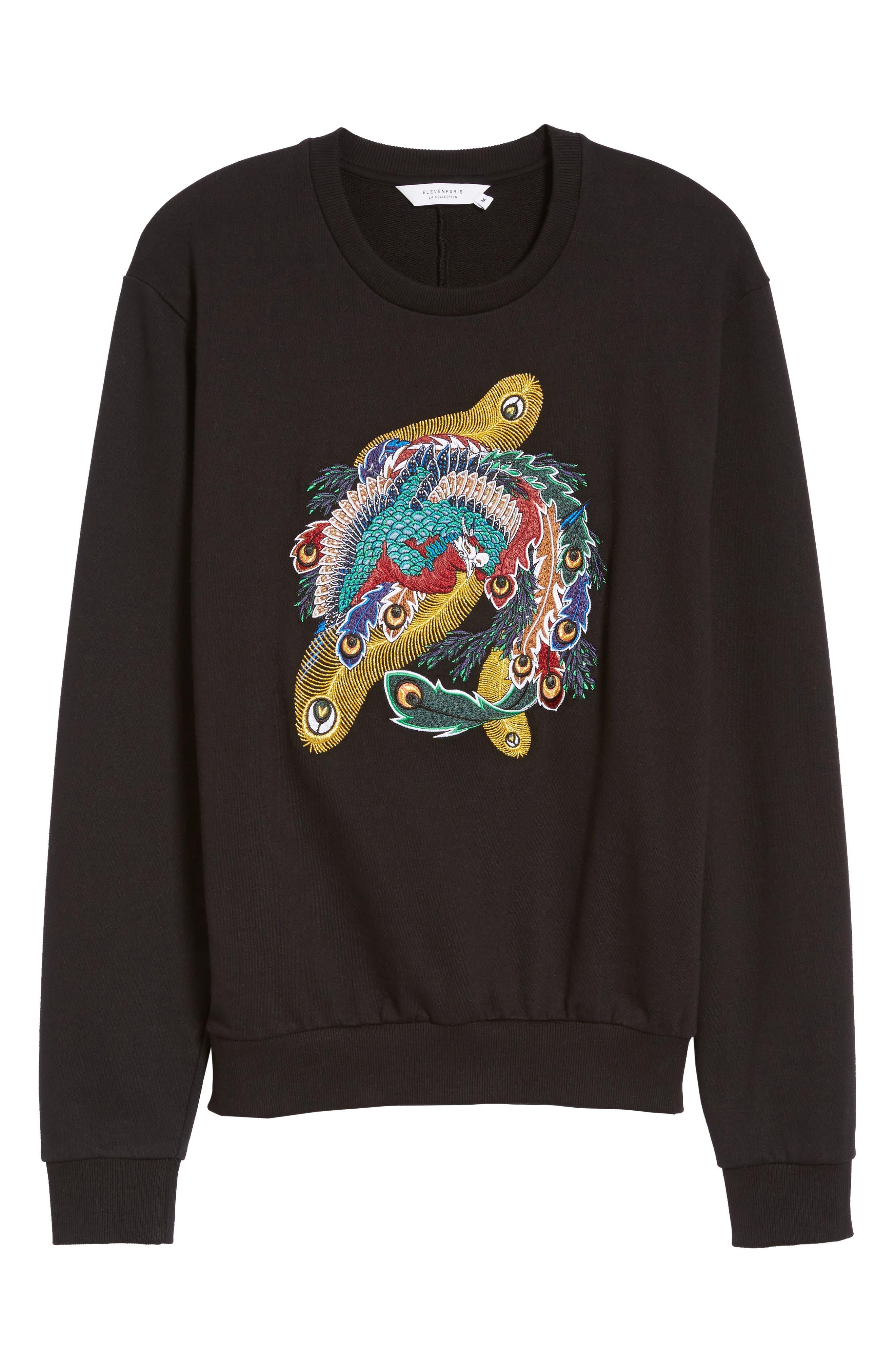 Nolan Embroidered Sweatshirt,                             Alternate thumbnail 6, color,                             Black