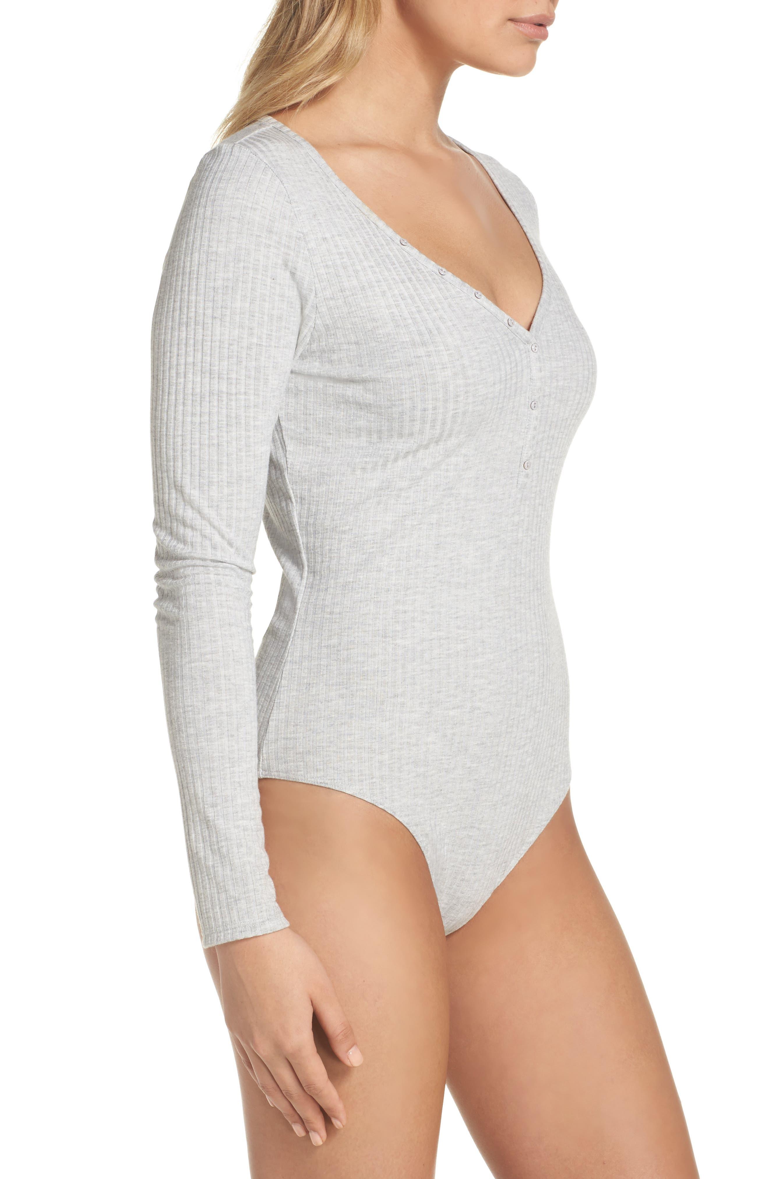 Body Zone Ribbed Henley Bodysuit,                             Alternate thumbnail 3, color,                             Heather Grey