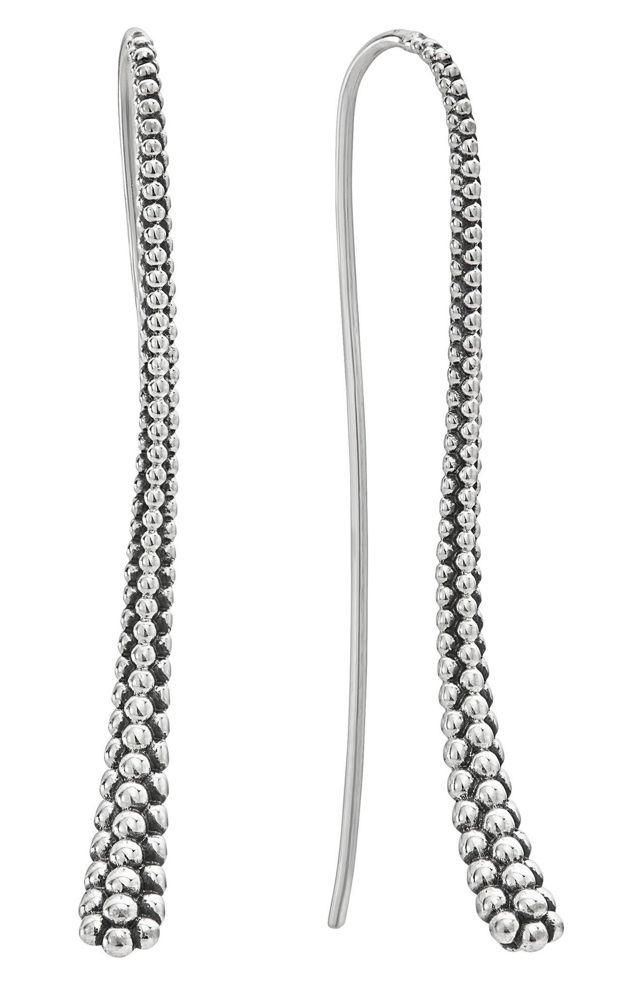 Caviar Linear Earrings,                             Main thumbnail 1, color,                             Silver