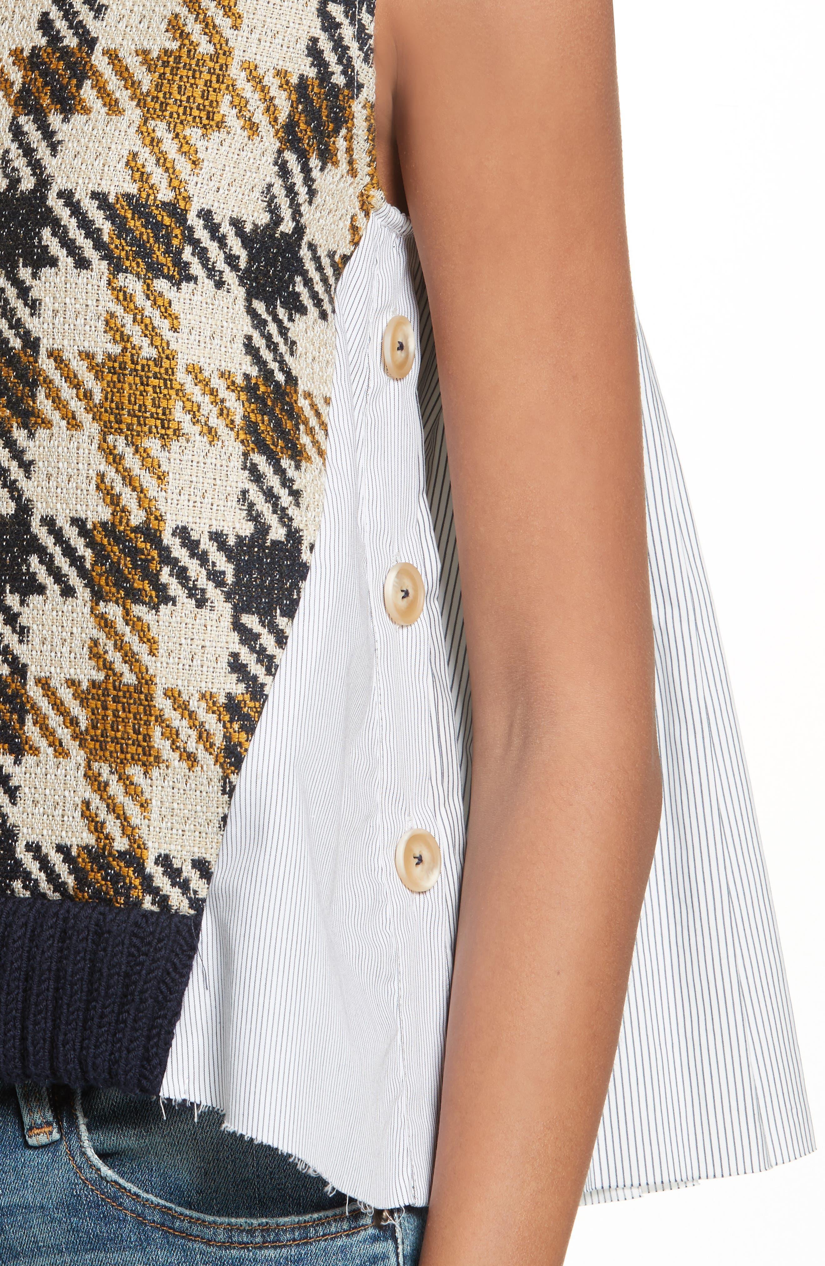 Combo Vest,                             Alternate thumbnail 4, color,                             Cream/ Black/ Yellow Multi