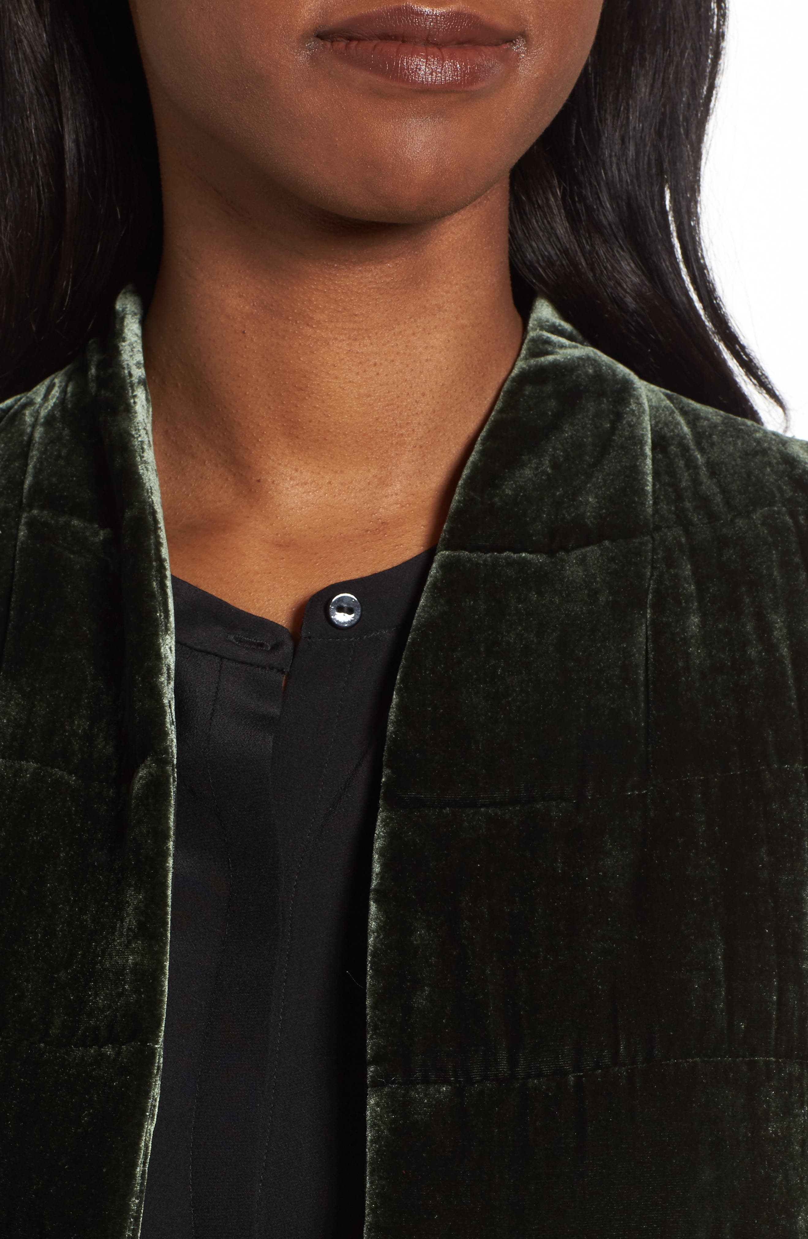 Alternate Image 4  - Eileen Fisher Long Quilted Velvet Vest