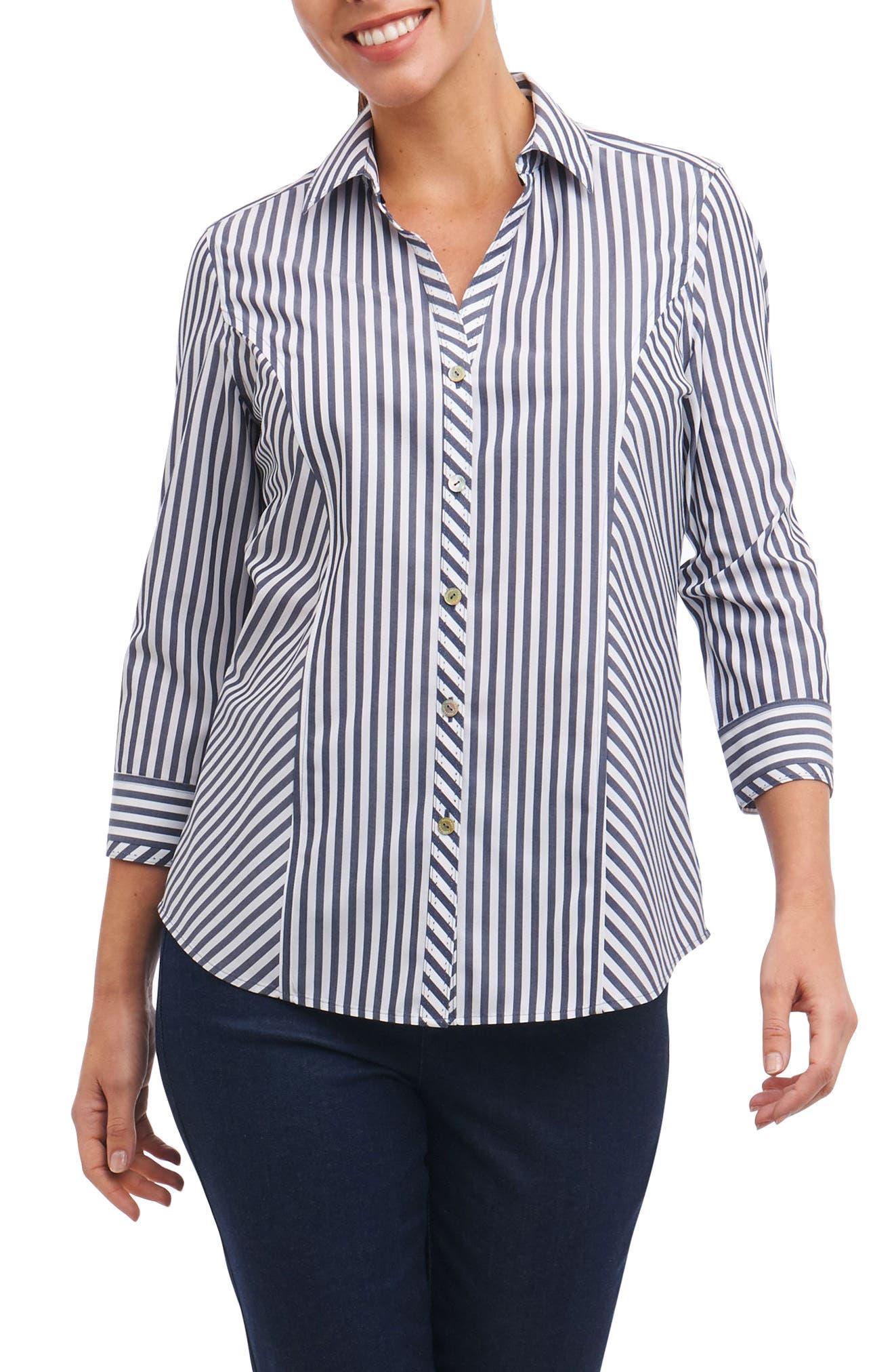 Hope Preppy Stripe Cotton Shirt,                             Main thumbnail 1, color,                             Navy