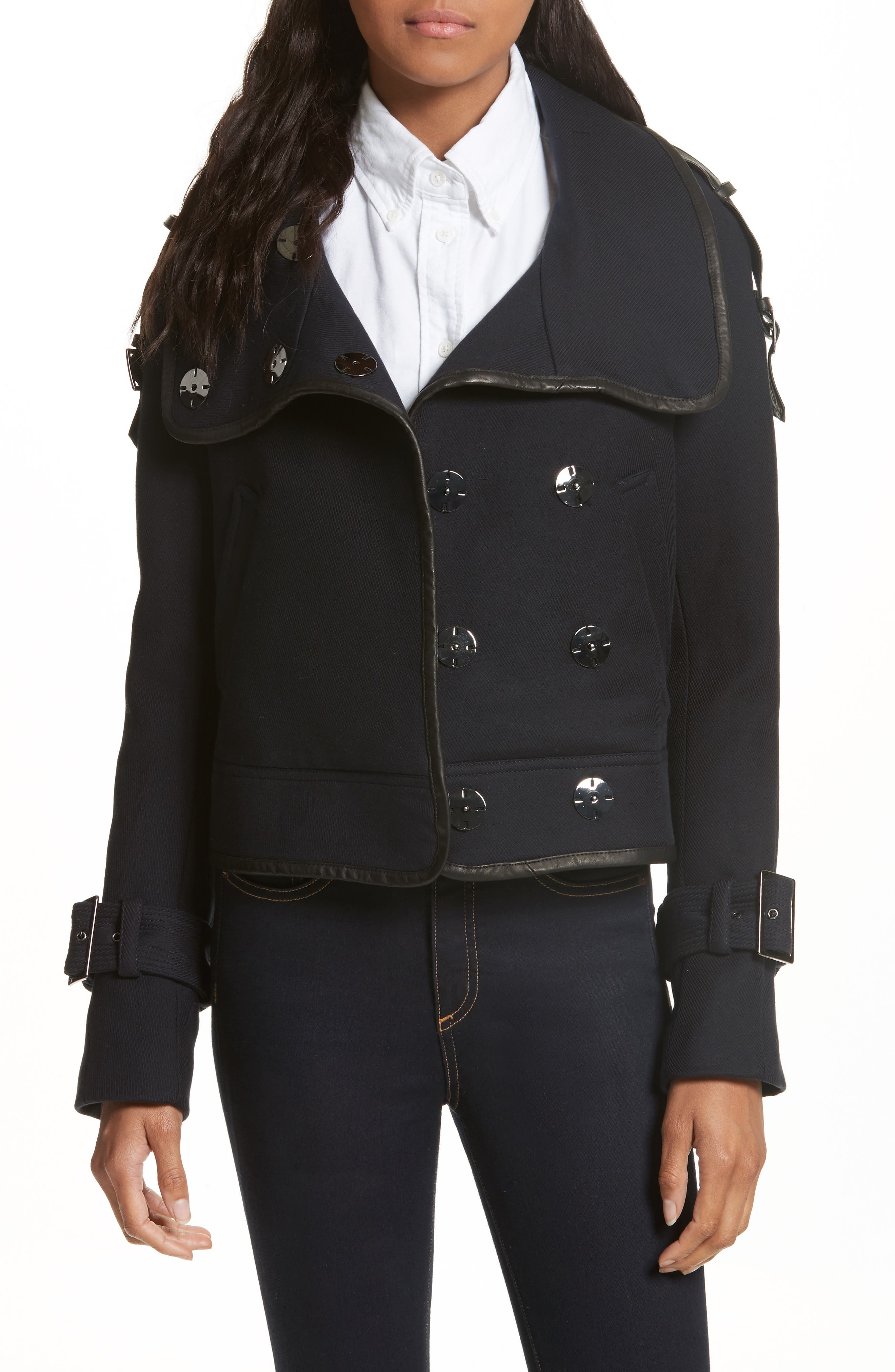 Veronica Beard Lafayette Leather Trim Snap Jacket