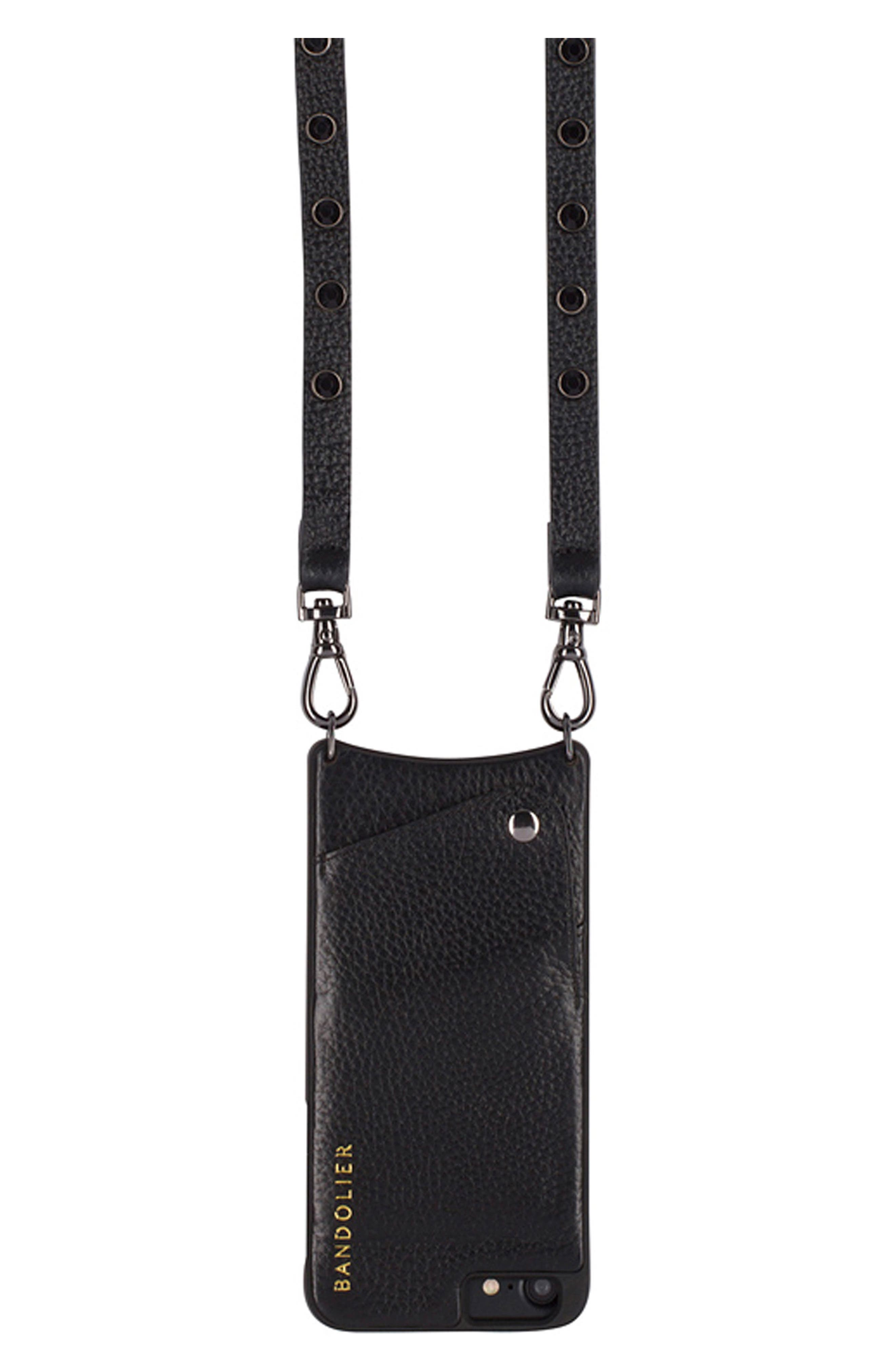Jules Leather iPhone 6/7/8 & 6/7/8 Plus Crossbody Case,                             Alternate thumbnail 4, color,                             Black/ Pewter