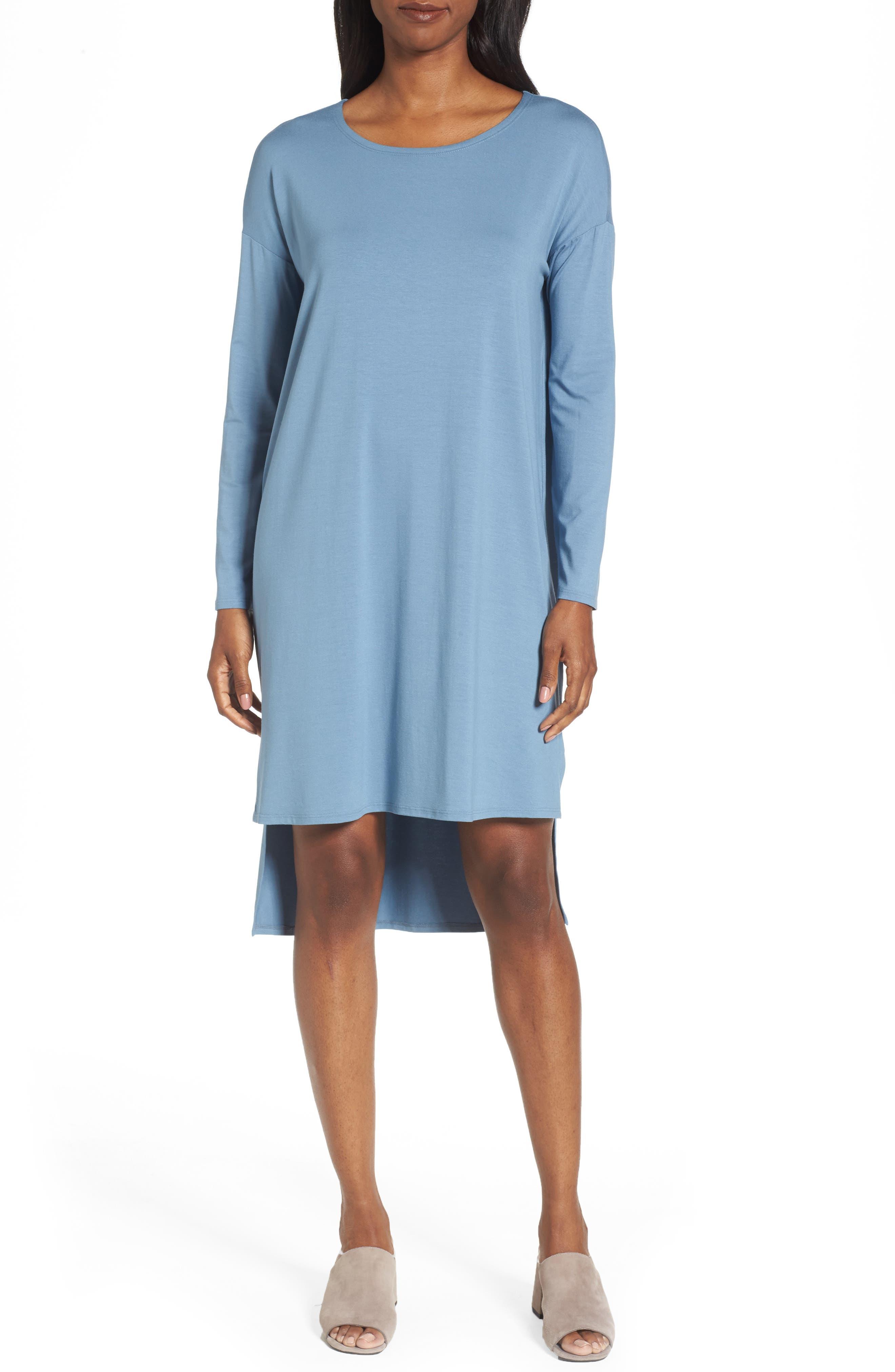 Eileen Fisher High/Low Jersey Shift Dress (Regular & Petite)