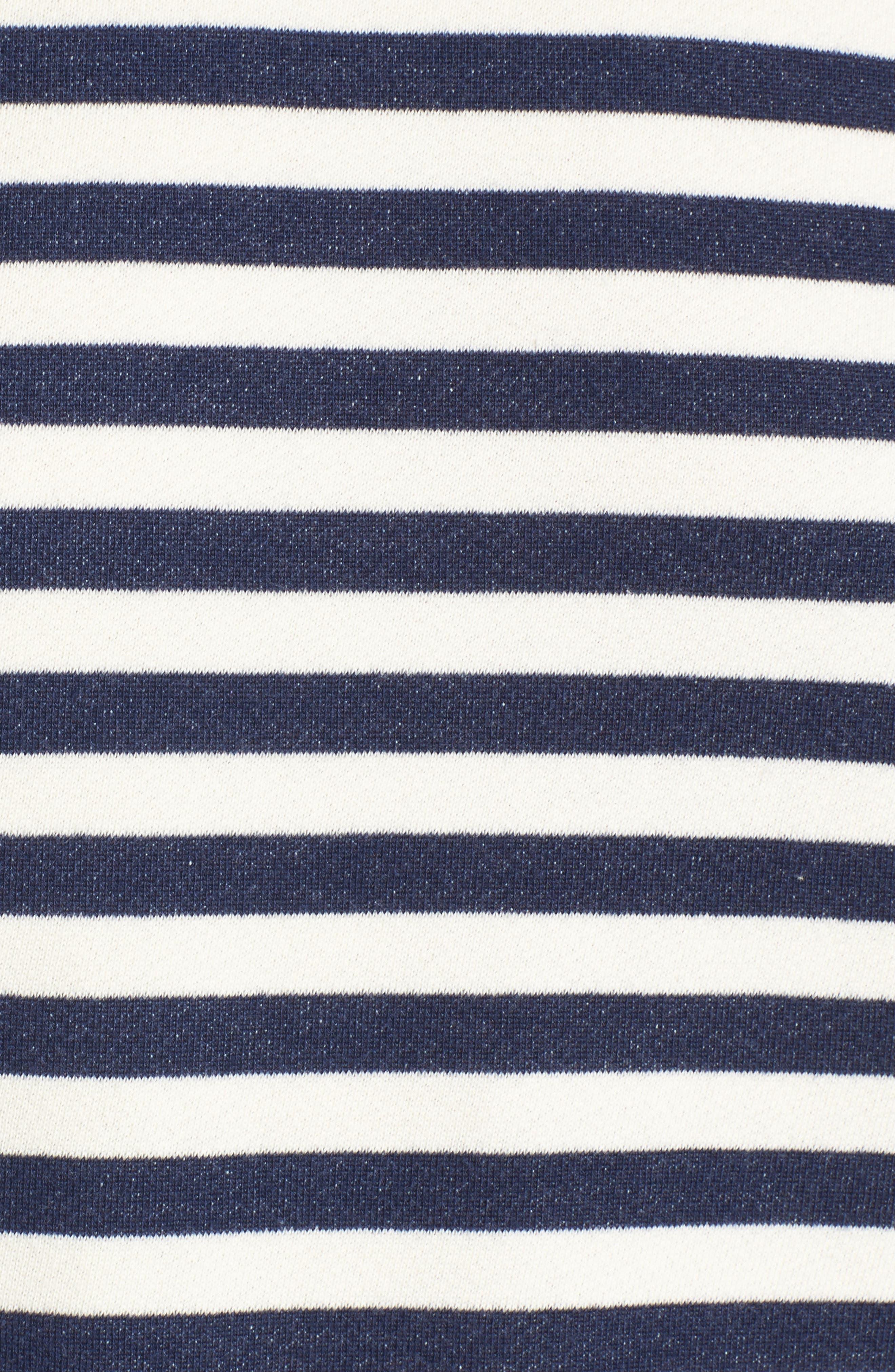Tie Sleeve Sweatshirt,                             Alternate thumbnail 5, color,                             Navy/ Ivory Stripe