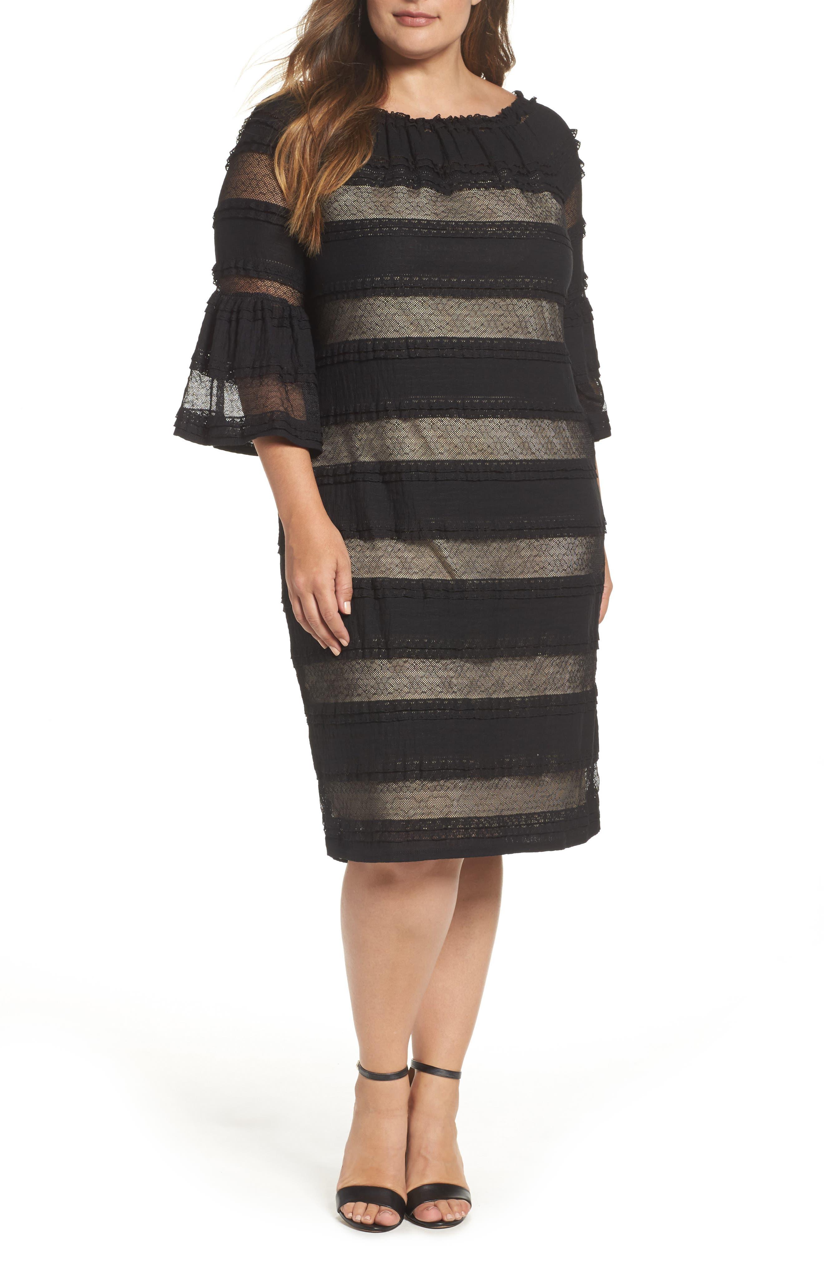 Lace Off the Shoulder Dress,                         Main,                         color, Black