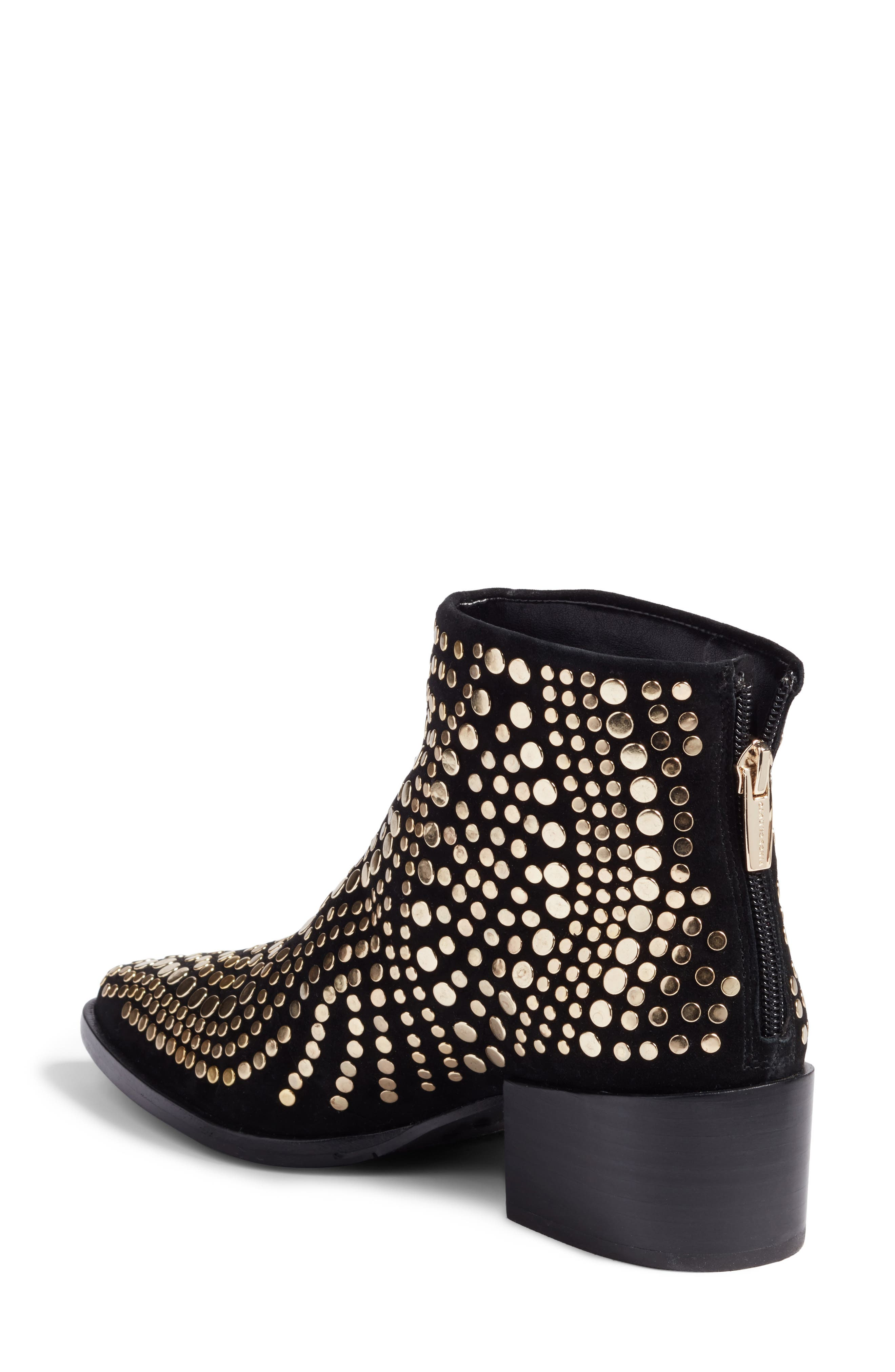 Edenny Studded Pointy Toe Bootie,                             Alternate thumbnail 3, color,                             Black Suede