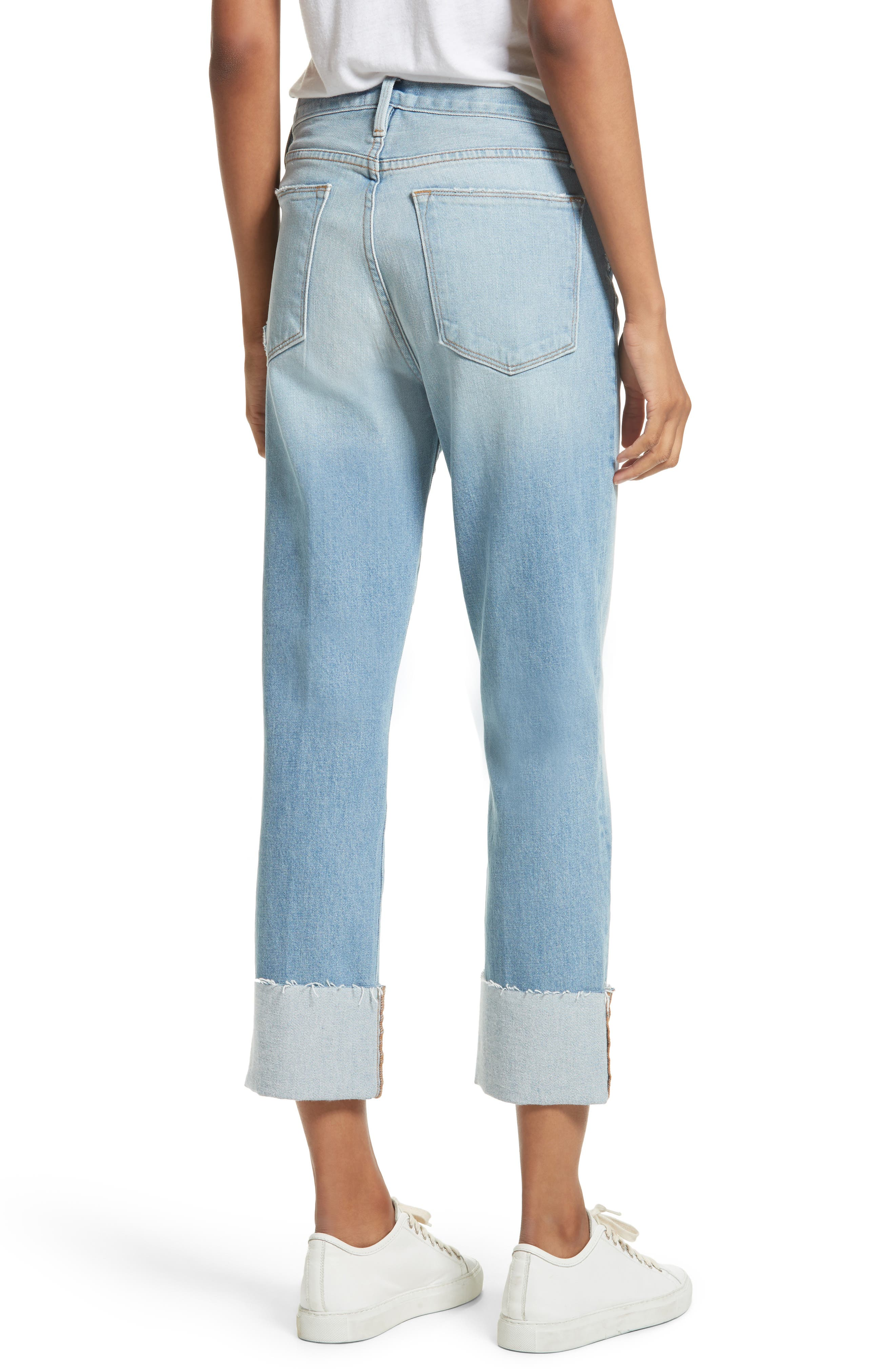 Le High Straight Leg Cuffed Jeans,                             Alternate thumbnail 3, color,                             Berkshire