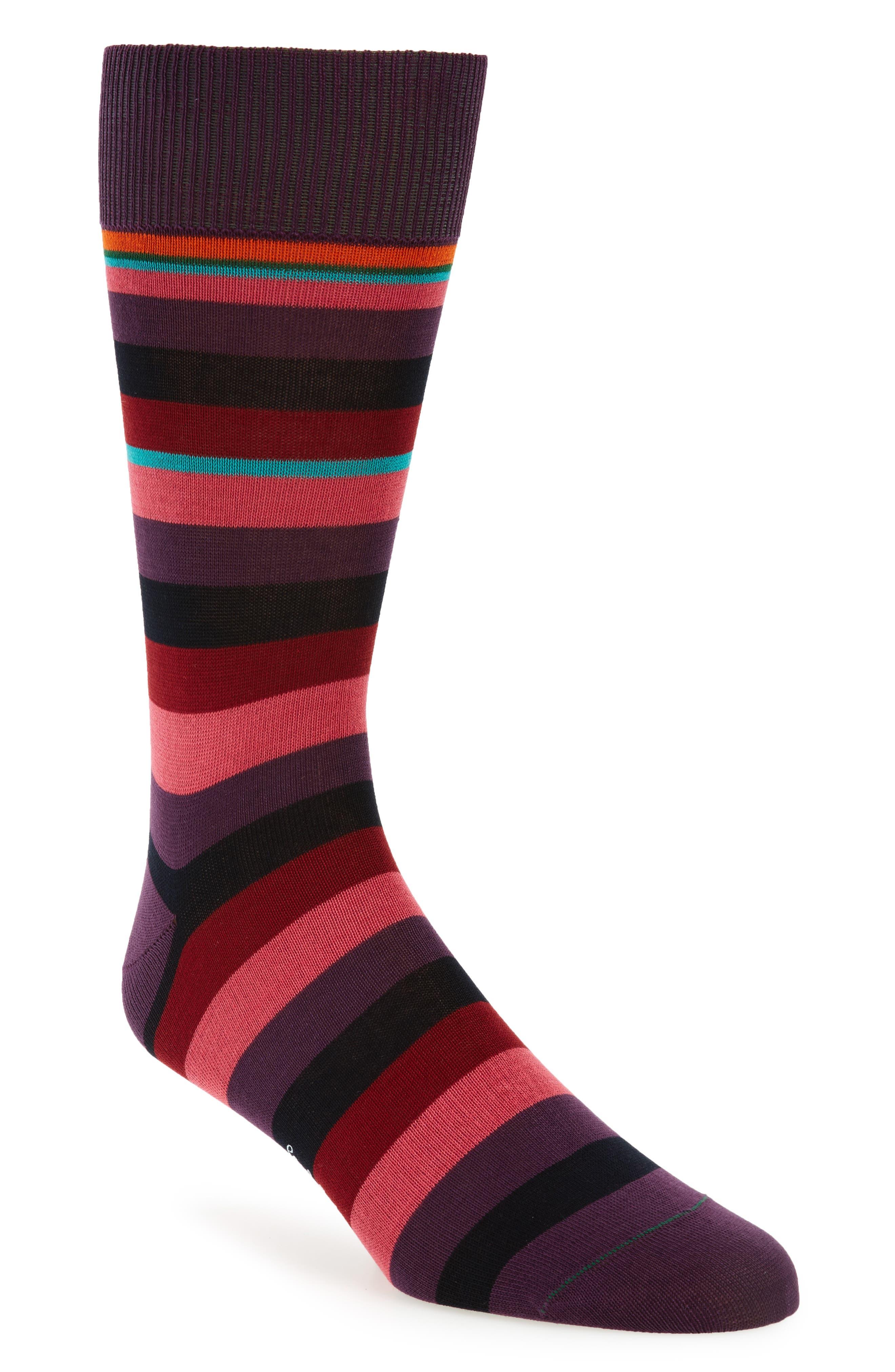 Valentine Told Me Stripe Socks,                         Main,                         color, Blue/ Red