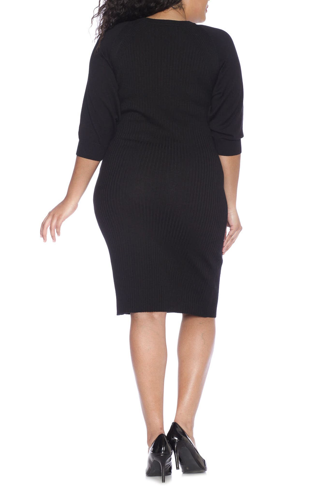 Alternate Image 2  - SLINK Jeans Ribbed Sweater Dress (Plus Size)