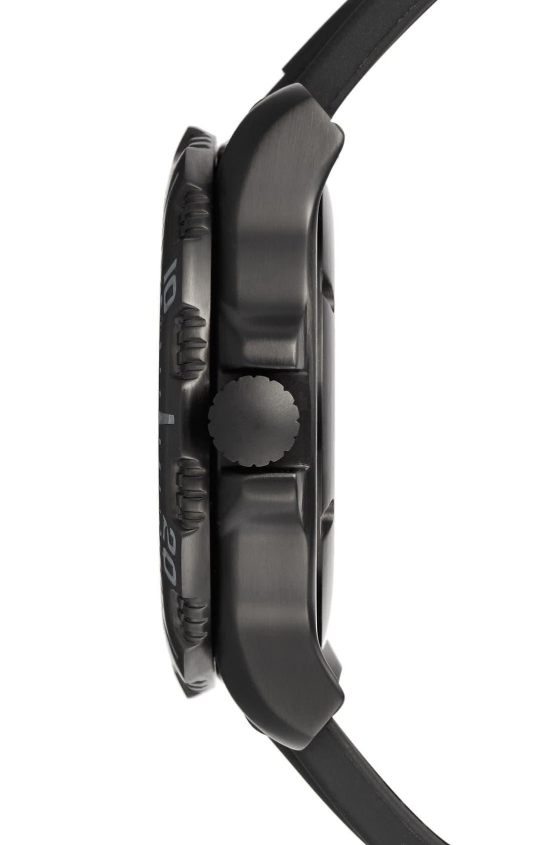 'Sea - ANU' Polyurethane Strap Watch, 45mm,                             Alternate thumbnail 3, color,                             Black/ Black/ Grey
