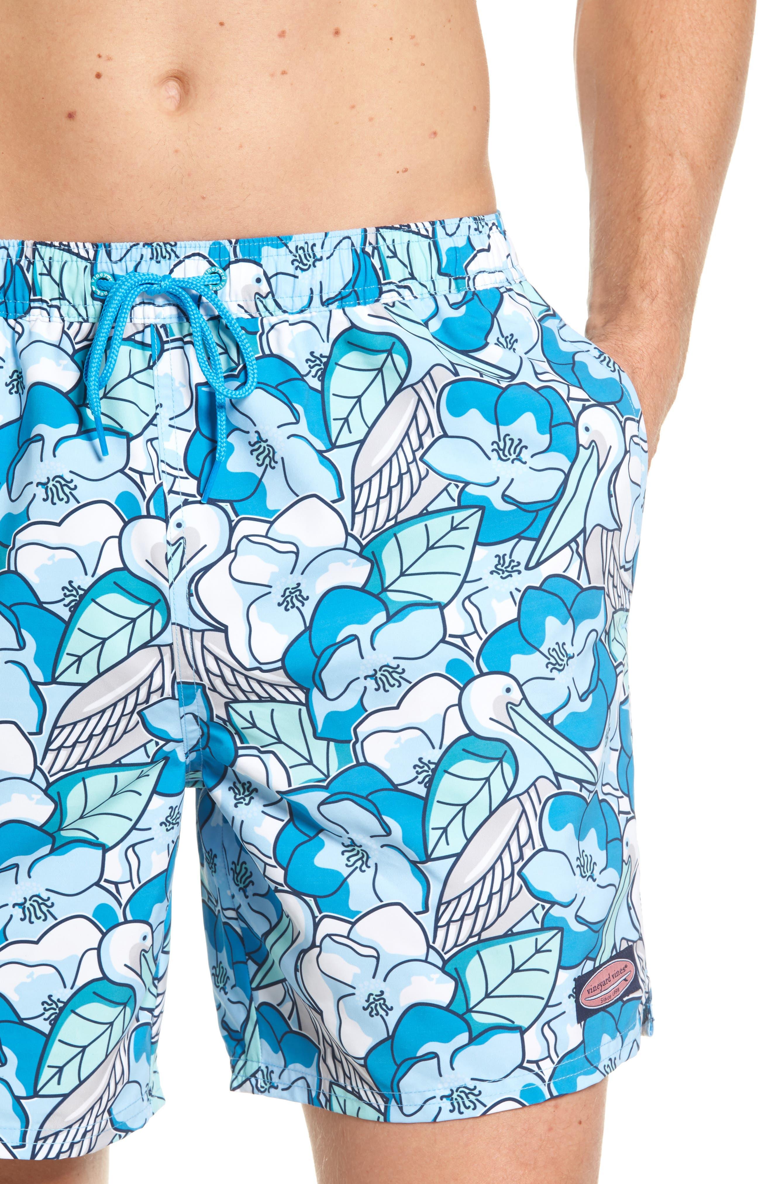 Pelican Magnolias Chappy Swim Trunks,                             Alternate thumbnail 4, color,                             Airy Blue