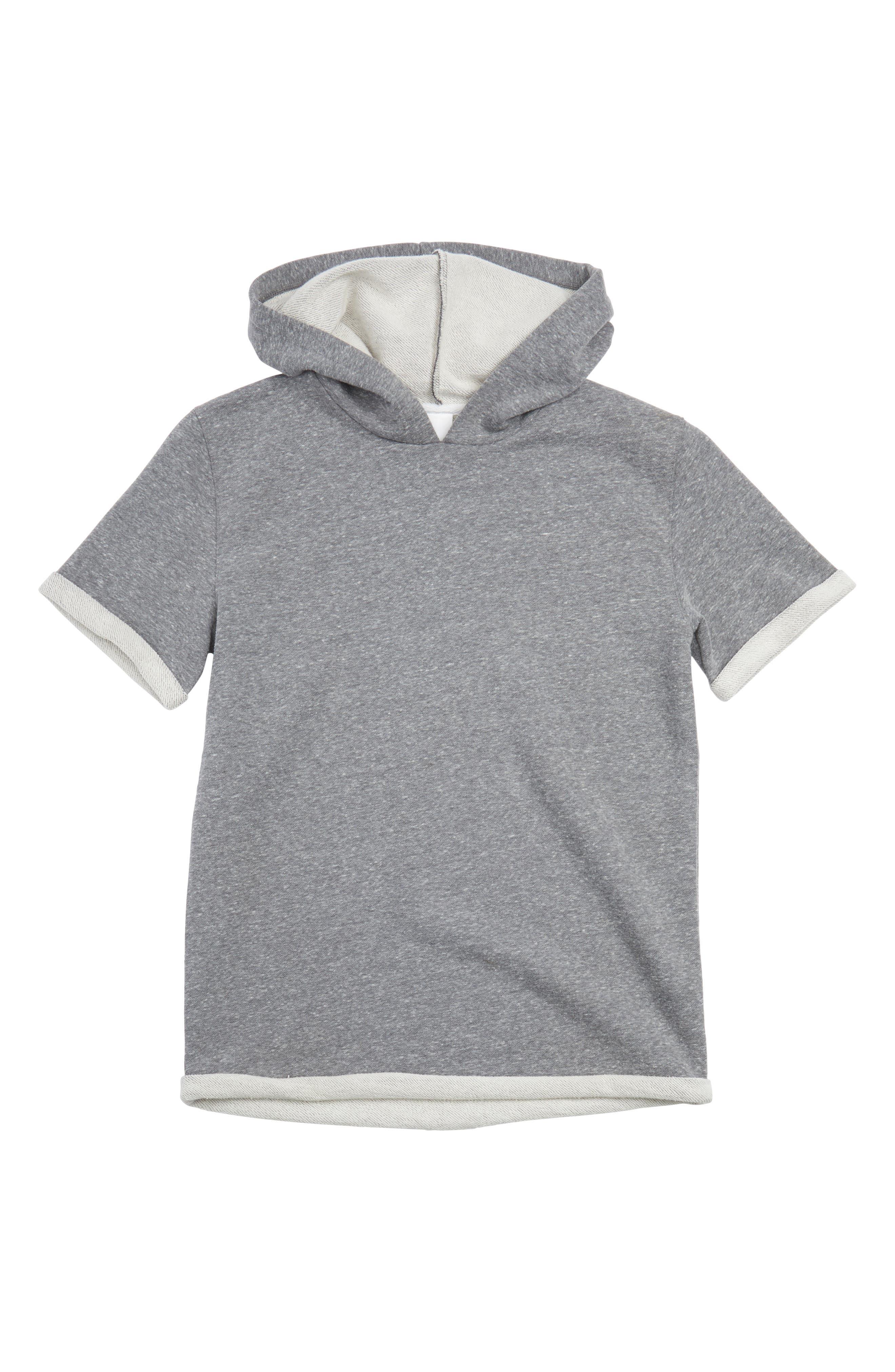 Hooded Short Sleeve Sweatshirt,                         Main,                         color, Grey Medium Heather
