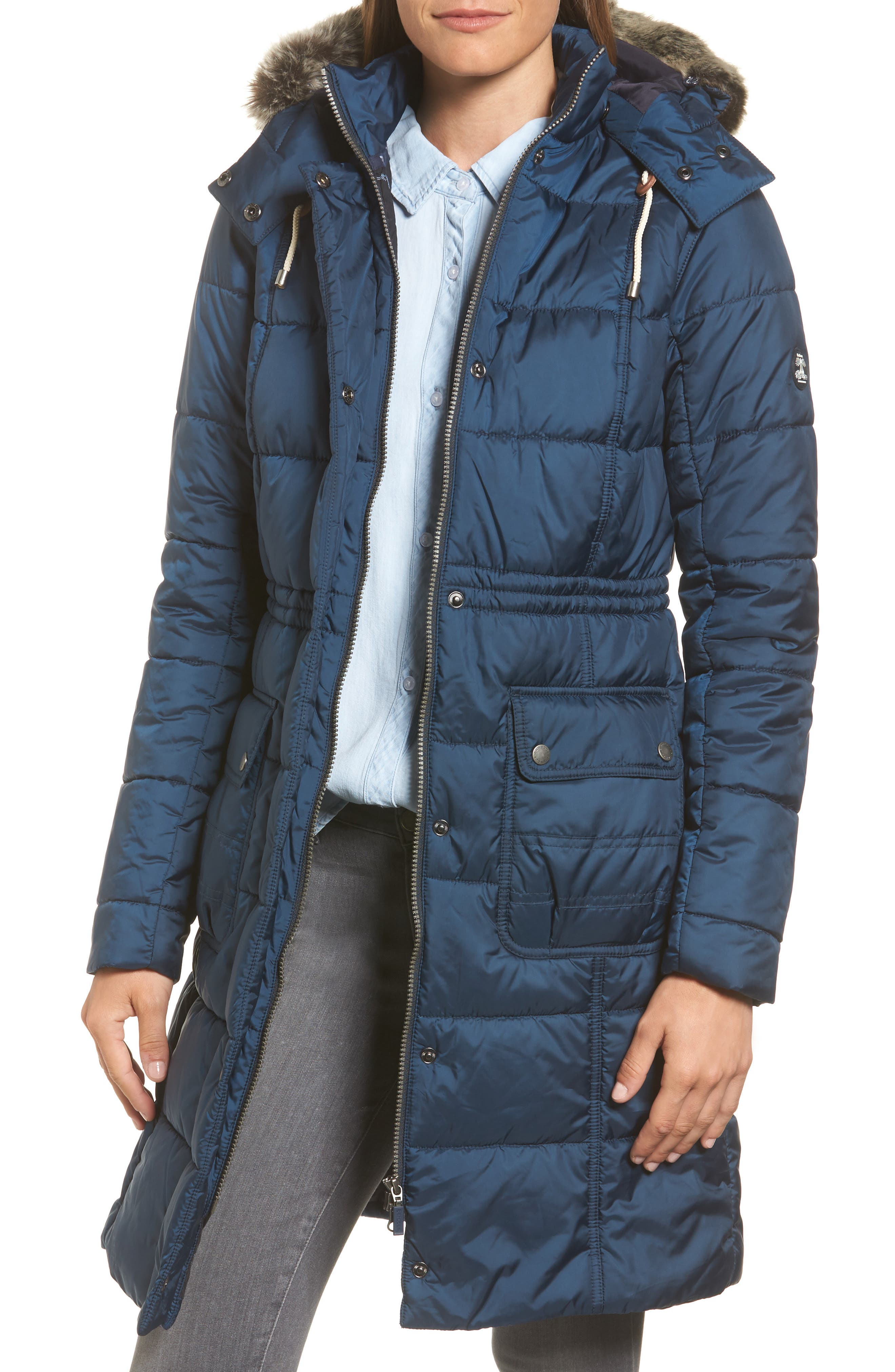 Winterton Water Resistant Hooded Quilted Jacket with Faux Fur Trim,                         Main,                         color, French Navy