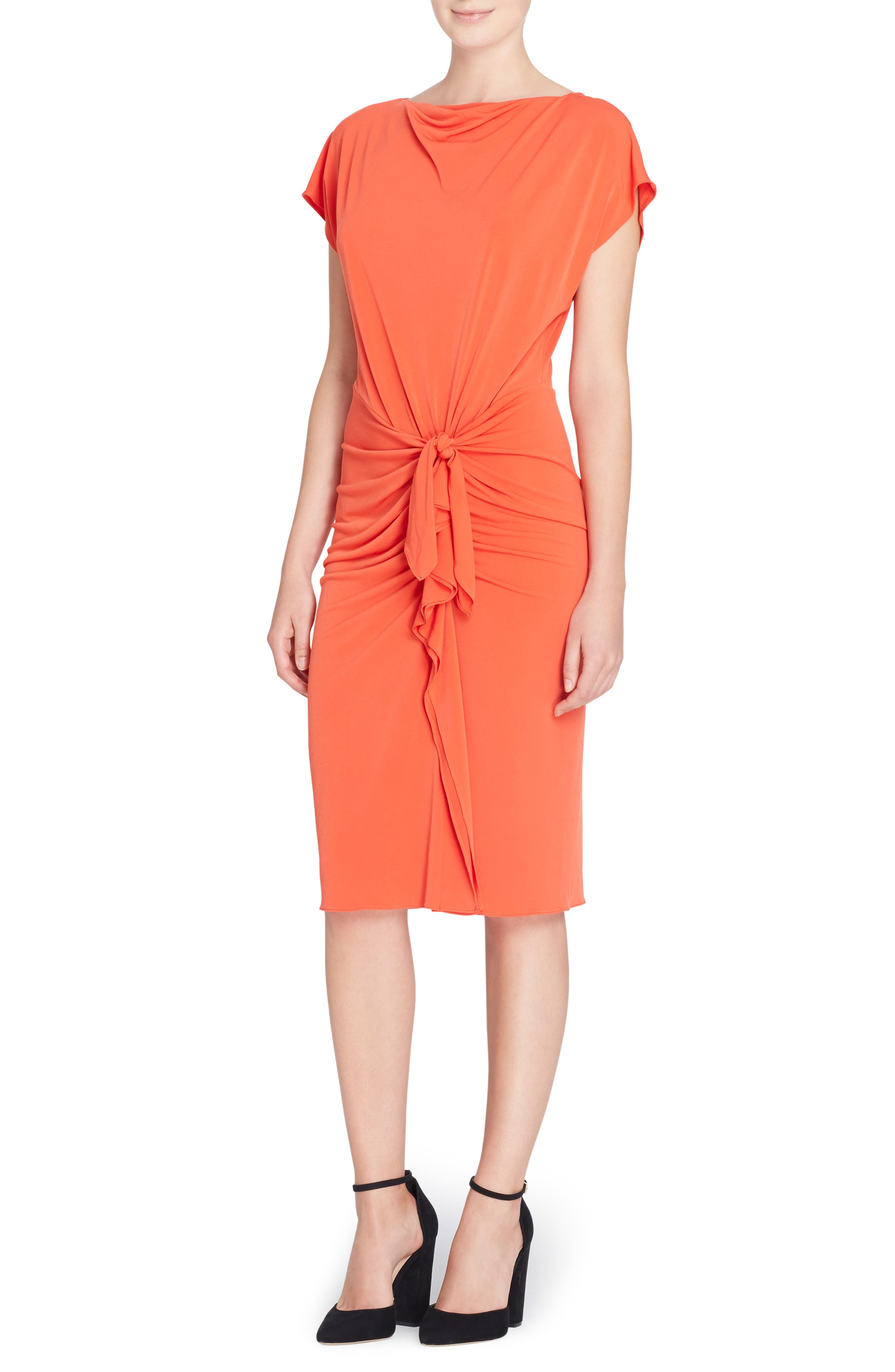 Char Stretch Jersey Sheath Dress,                         Main,                         color, Poinciana