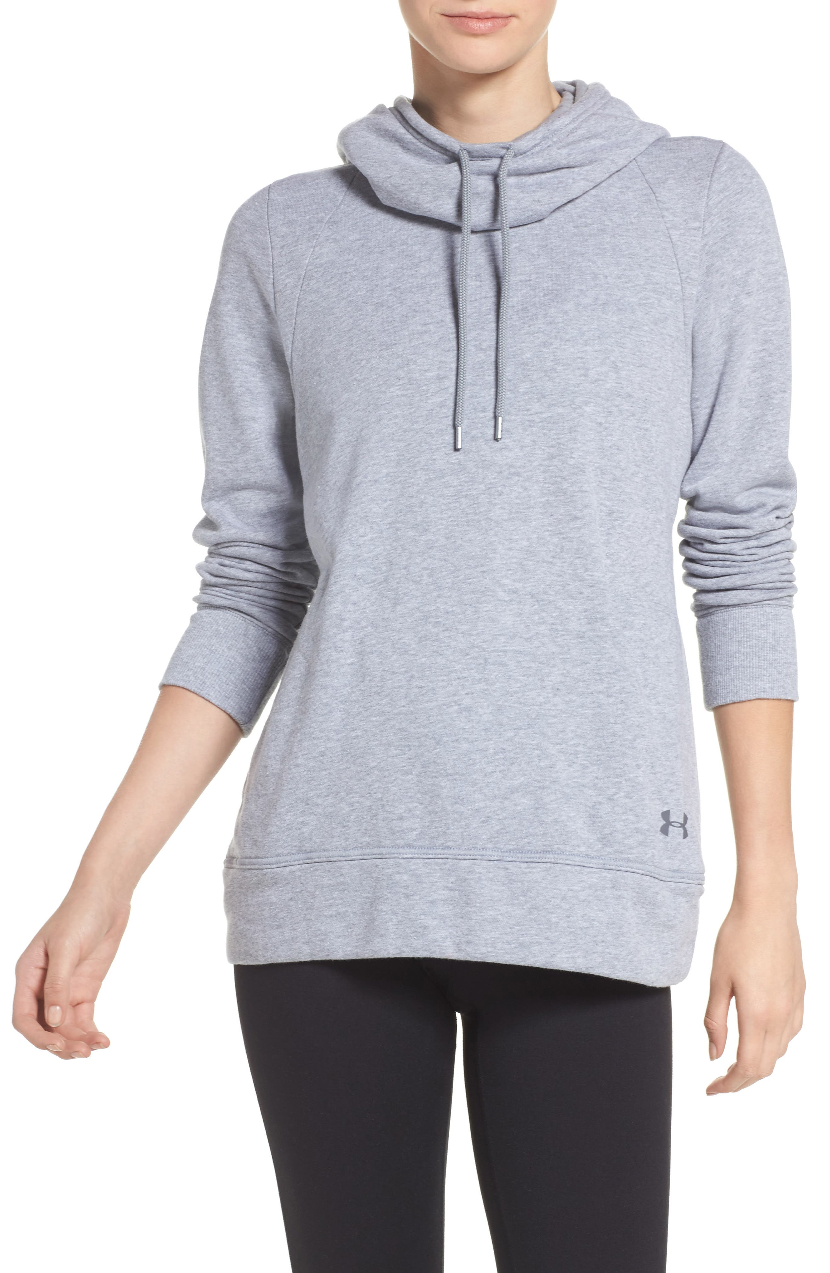 Cutout Back Hoodie,                             Main thumbnail 1, color,                             True Gray Heather/ Rhino Grey