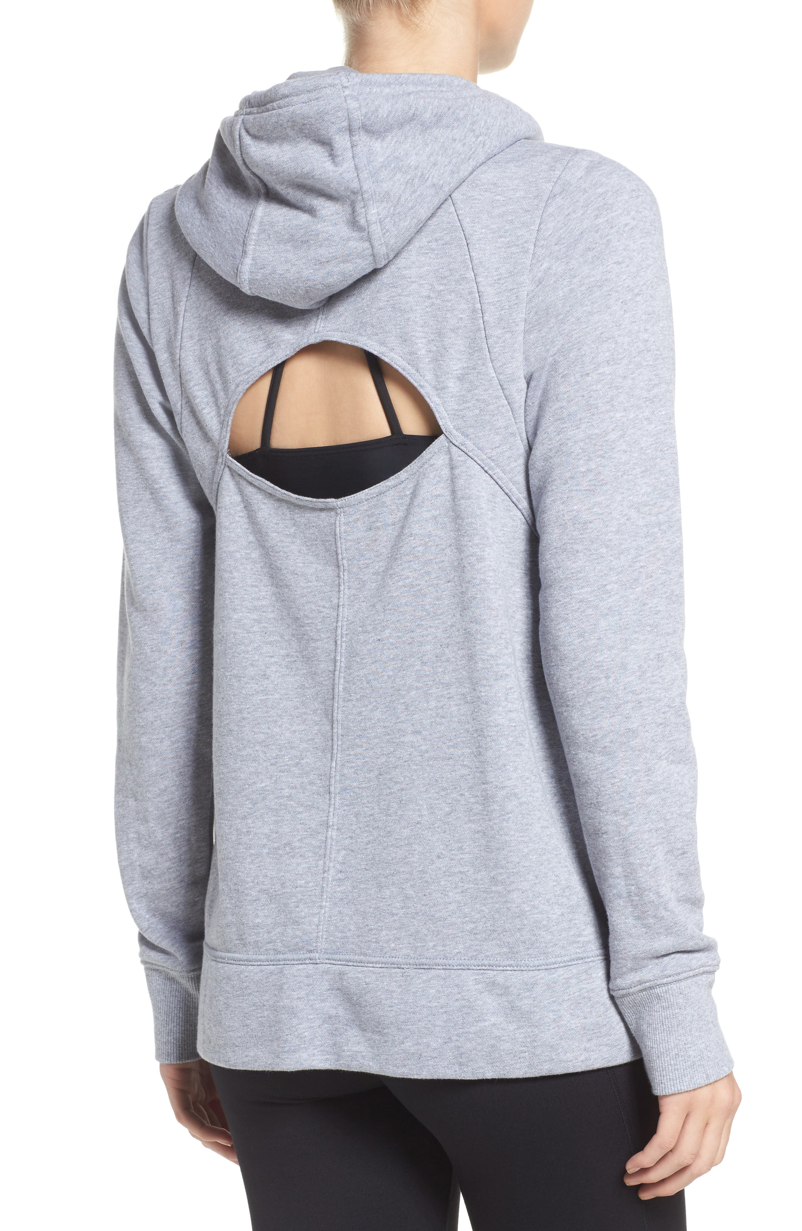 Cutout Back Hoodie,                             Alternate thumbnail 2, color,                             True Gray Heather/ Rhino Grey
