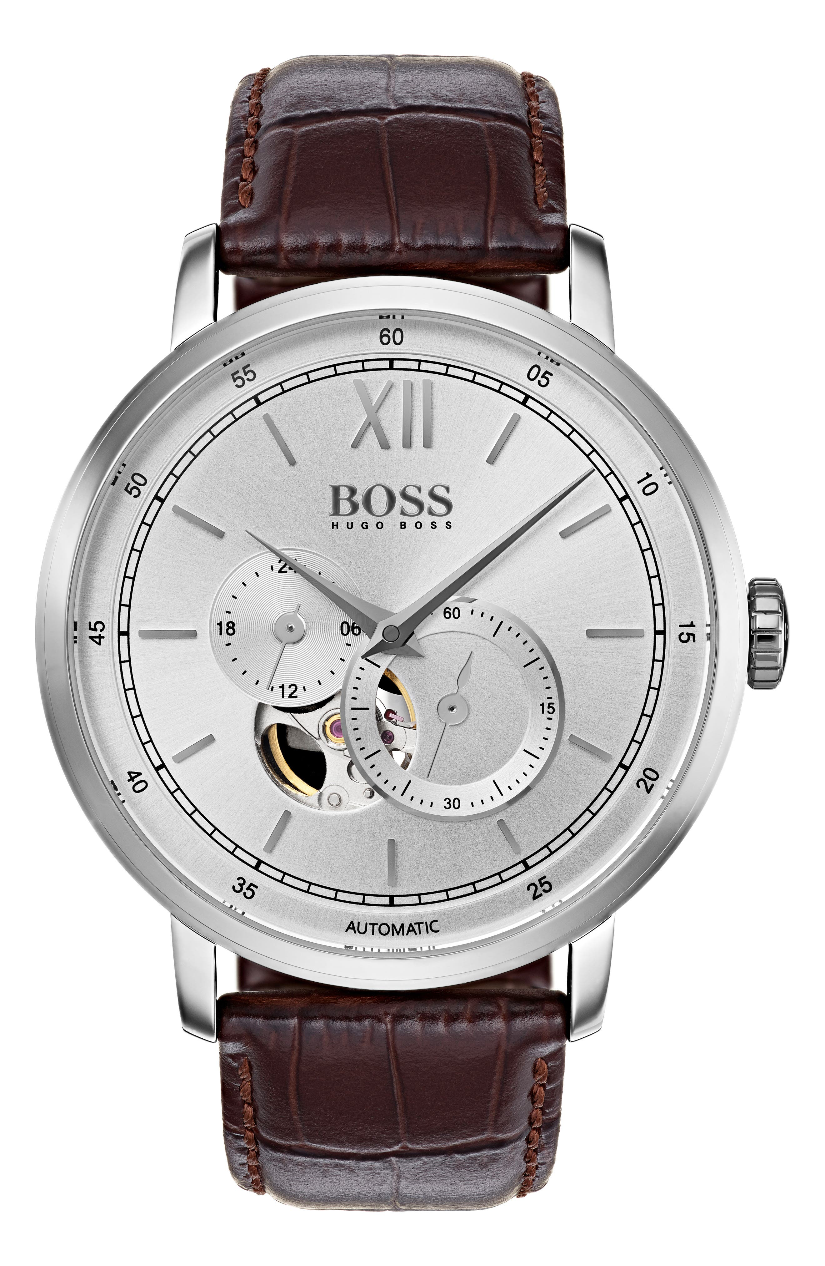 Signature Automatic Leather Strap Watch, 44mm,                             Main thumbnail 1, color,                             Silver/ Brown