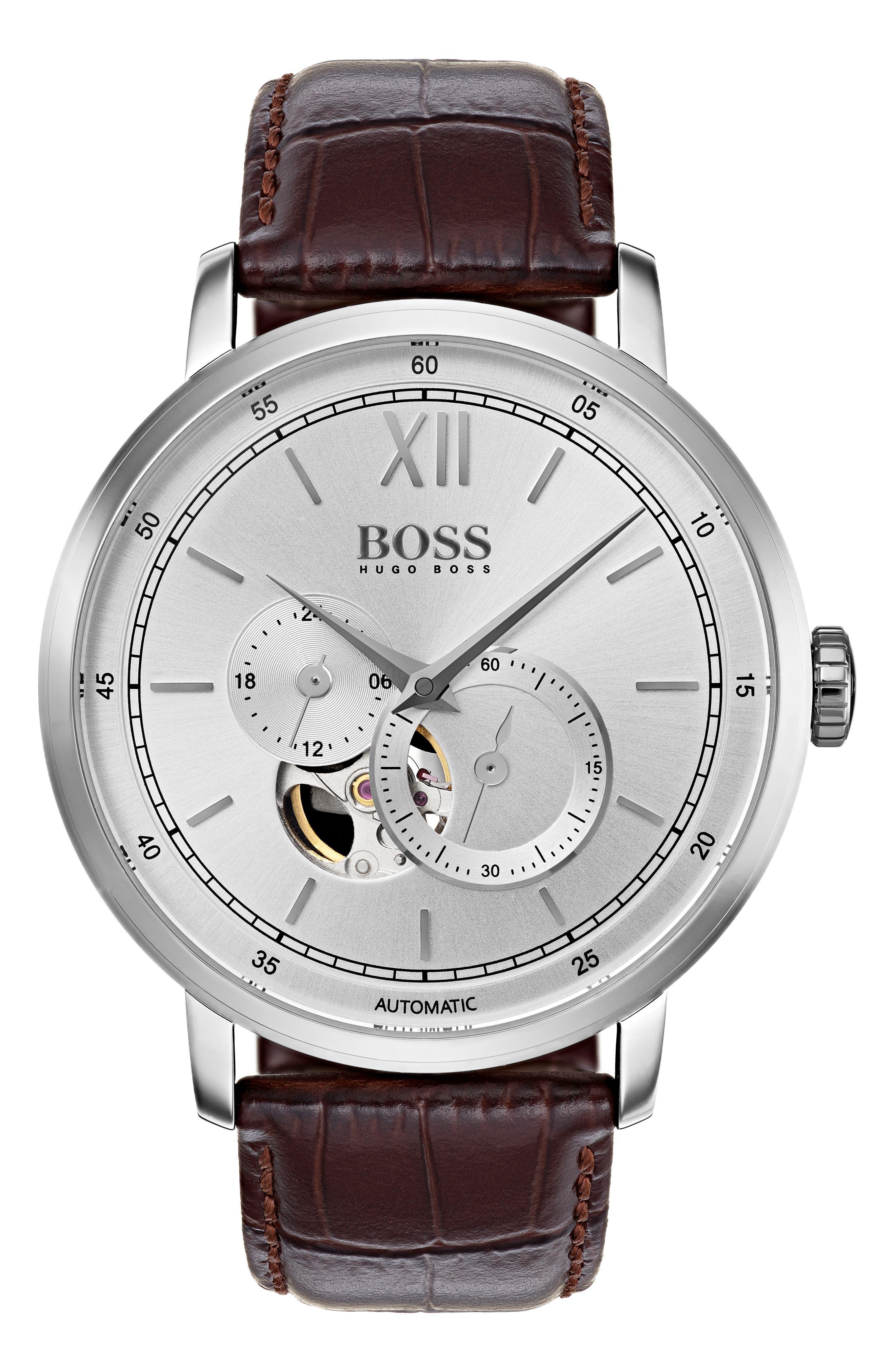 Main Image - BOSS Signature Automatic Leather Strap Watch, 44mm
