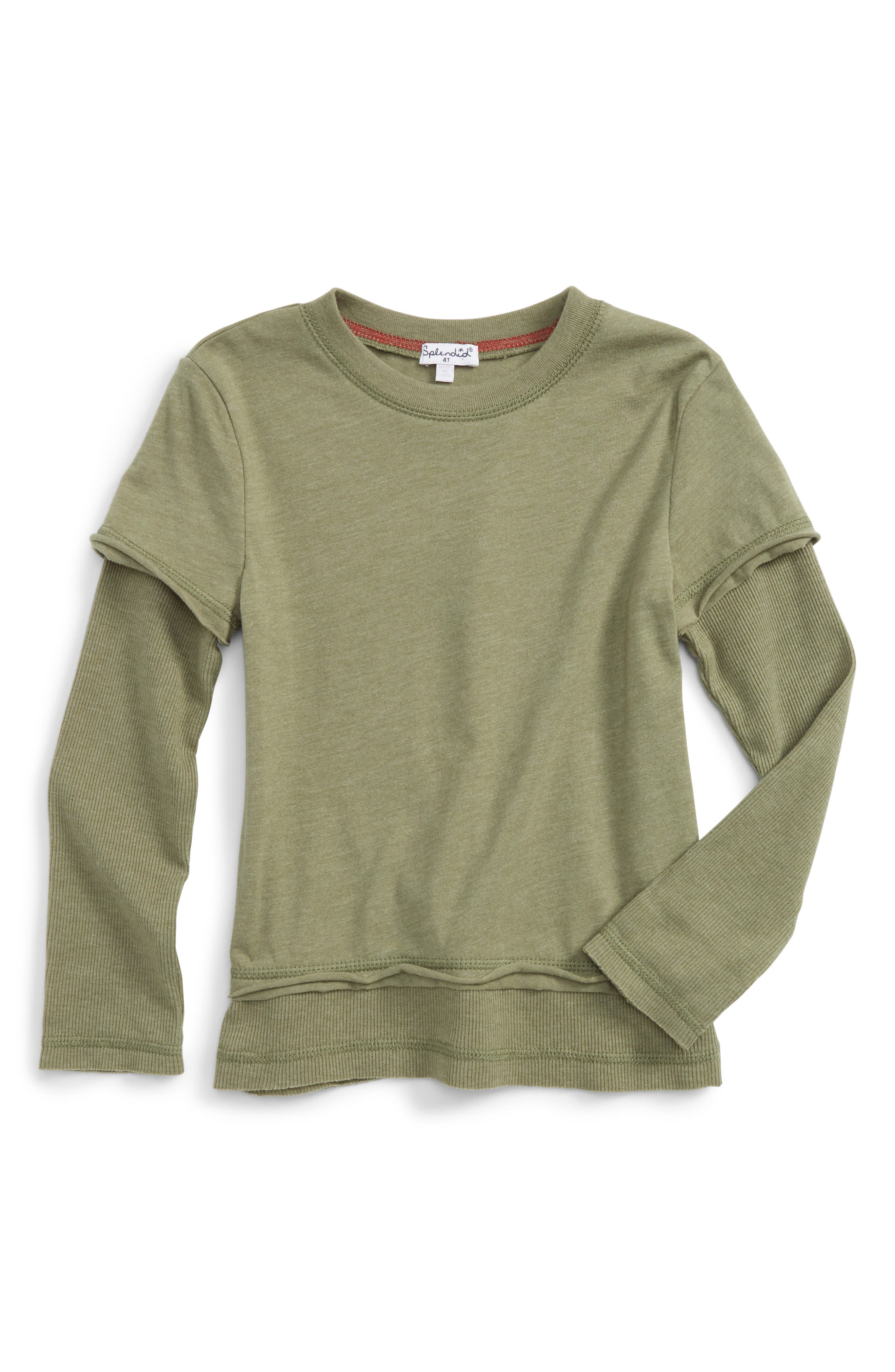 Layered T-Shirt,                         Main,                         color, Olive