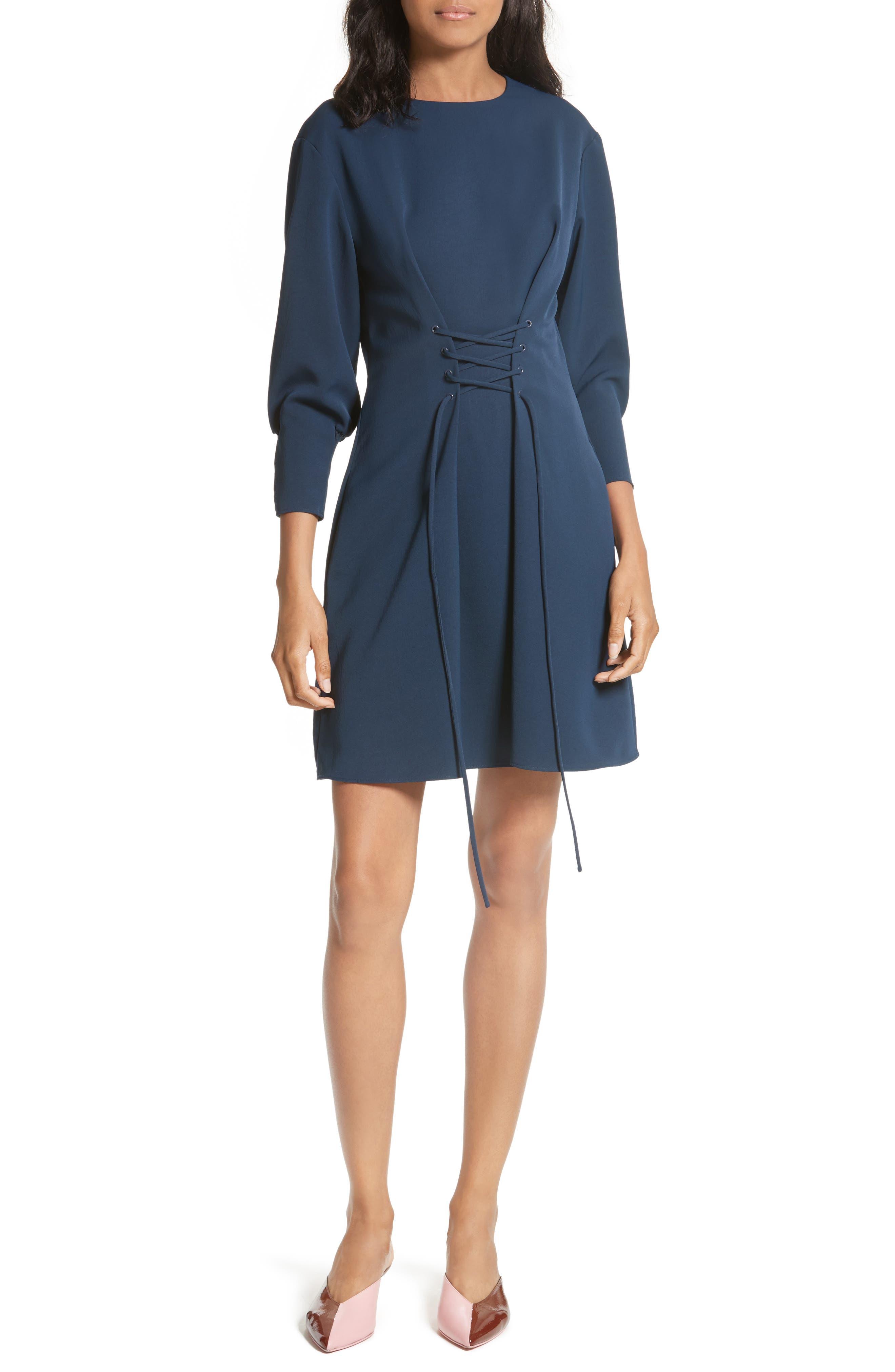 Lace-Up Draped Twill Dress,                         Main,                         color, Navy