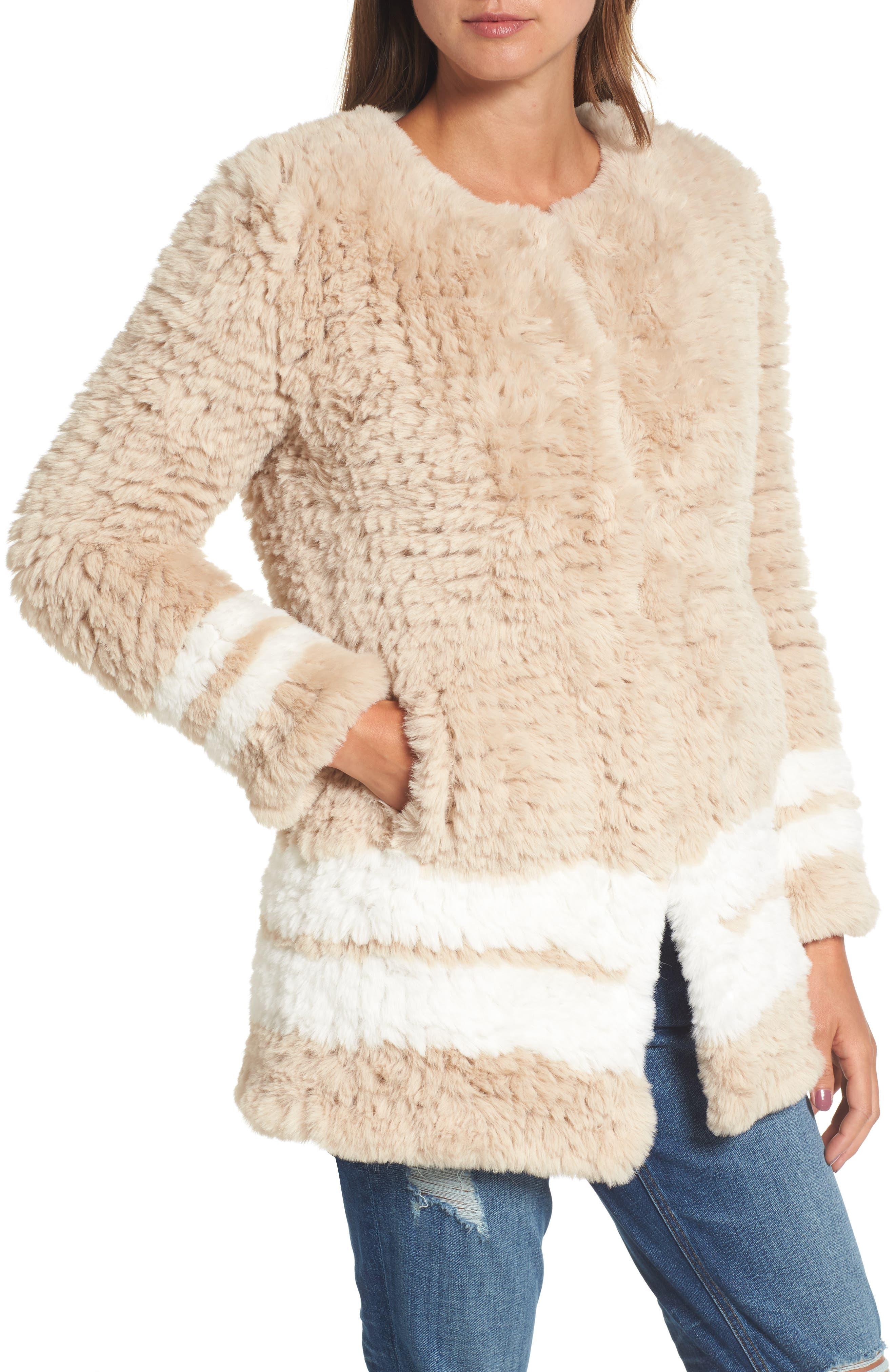 Faux Fur Jacket,                             Alternate thumbnail 4, color,                             Beige