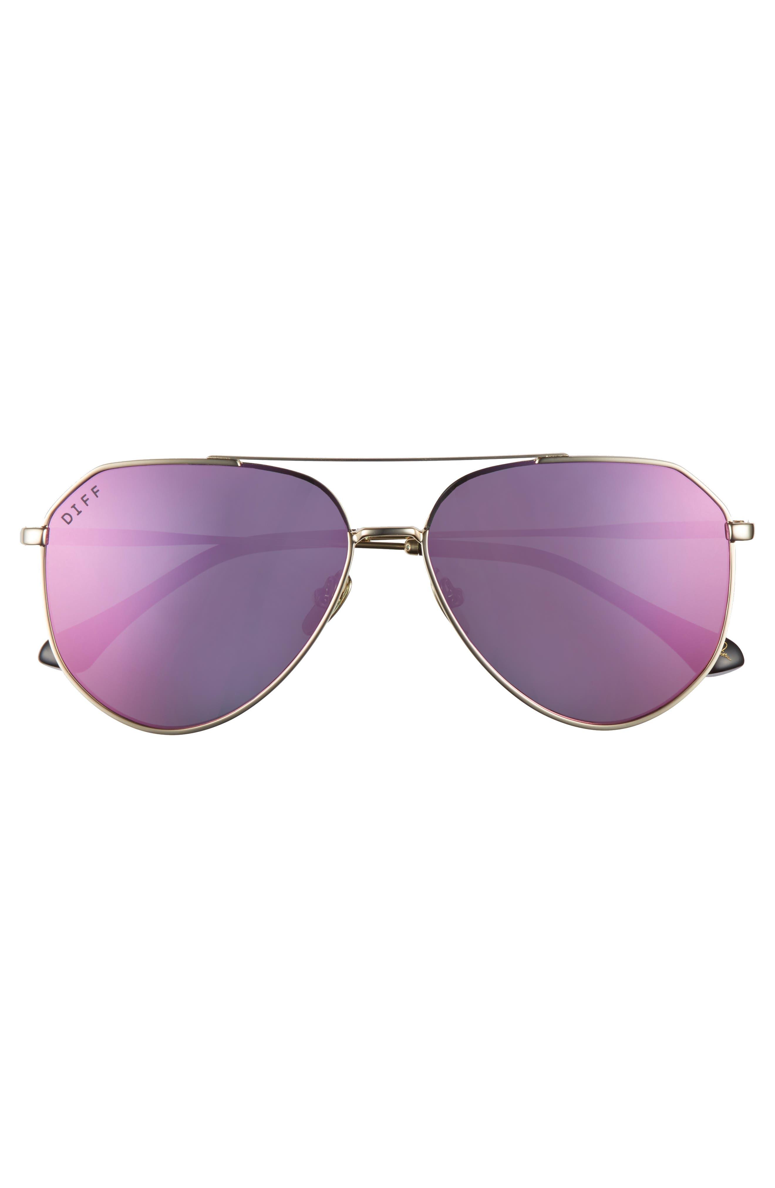 Alternate Image 3  - DIFF x Jessie James Decker Dash 61mm Polarized Aviator Sunglasses