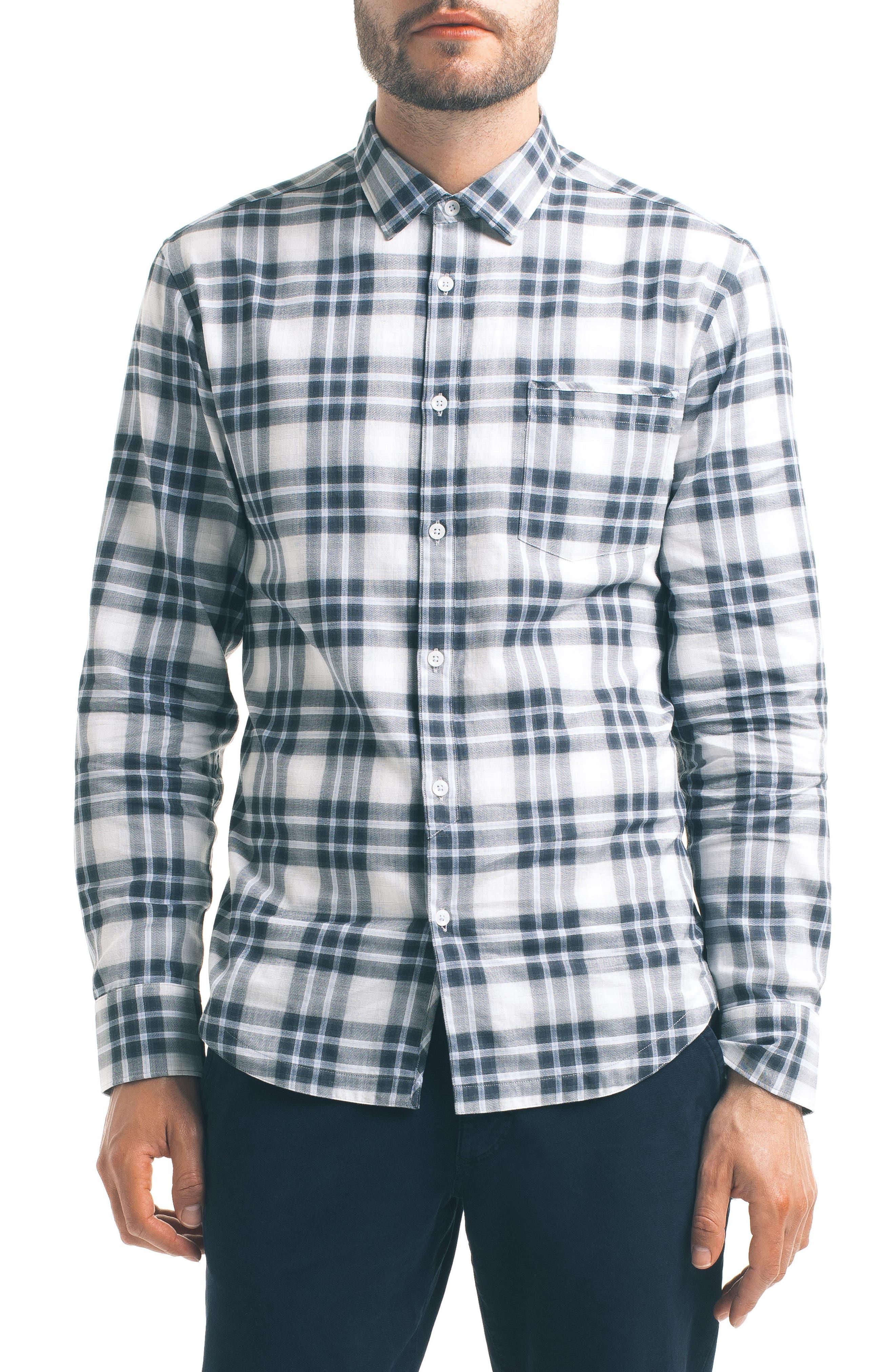 Slim Fit Plaid Sport Shirt,                         Main,                         color, White