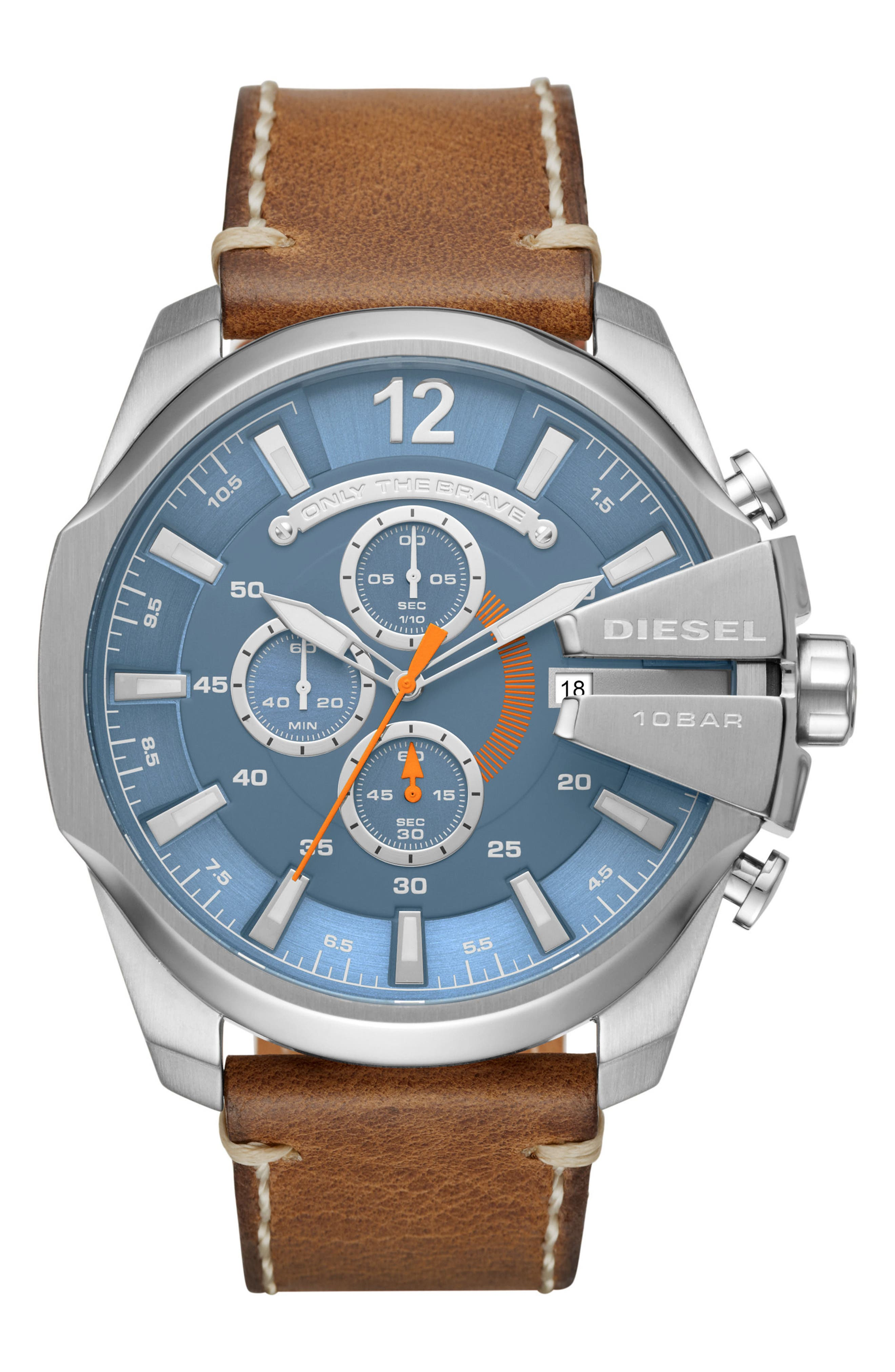 Mega Chief Chronograph Leather Strap Watch, 51mm x 59mm,                         Main,                         color, Blue/ Tan