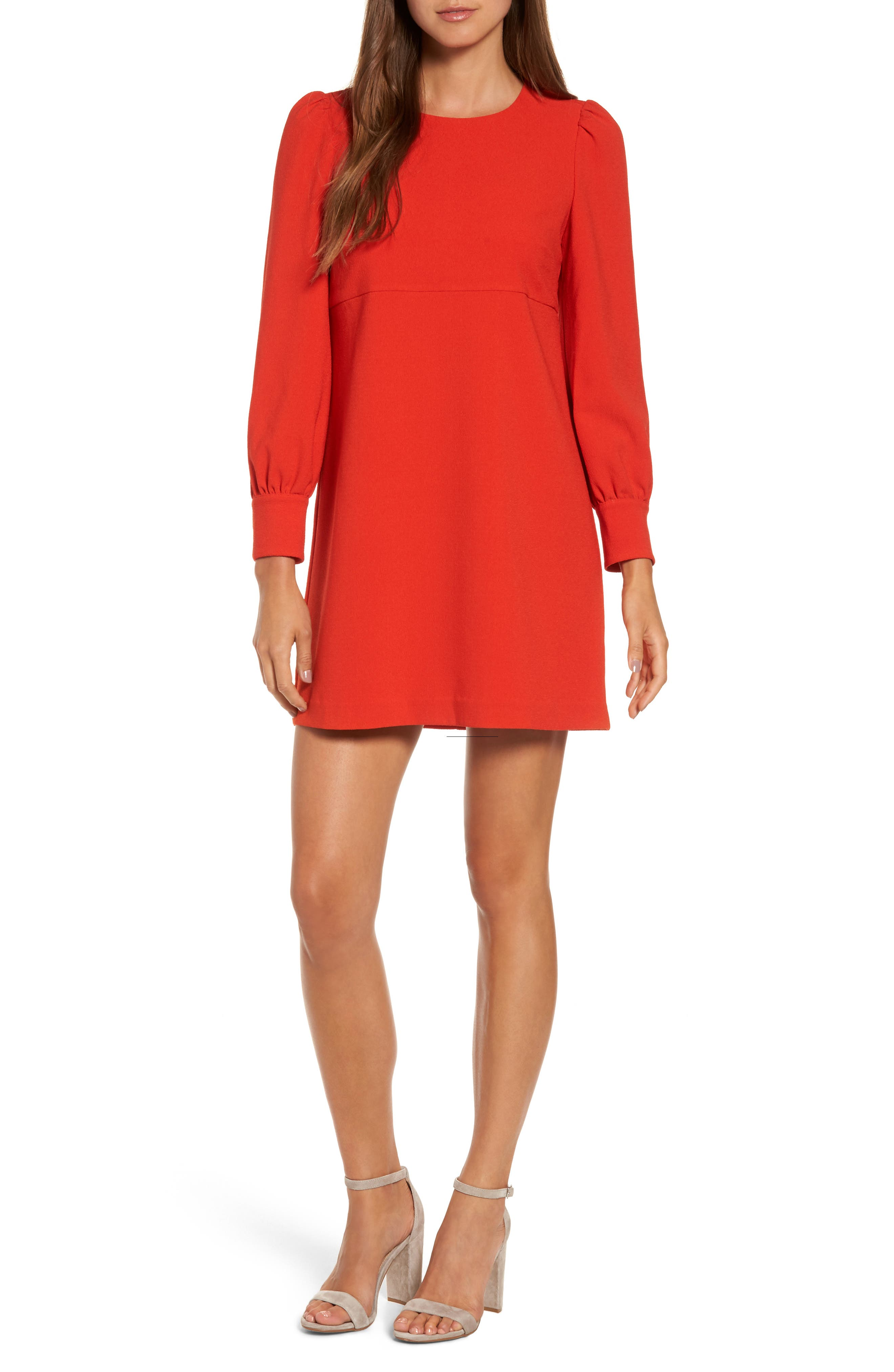 Button Detail Shift Dress,                             Main thumbnail 1, color,                             Red Chili