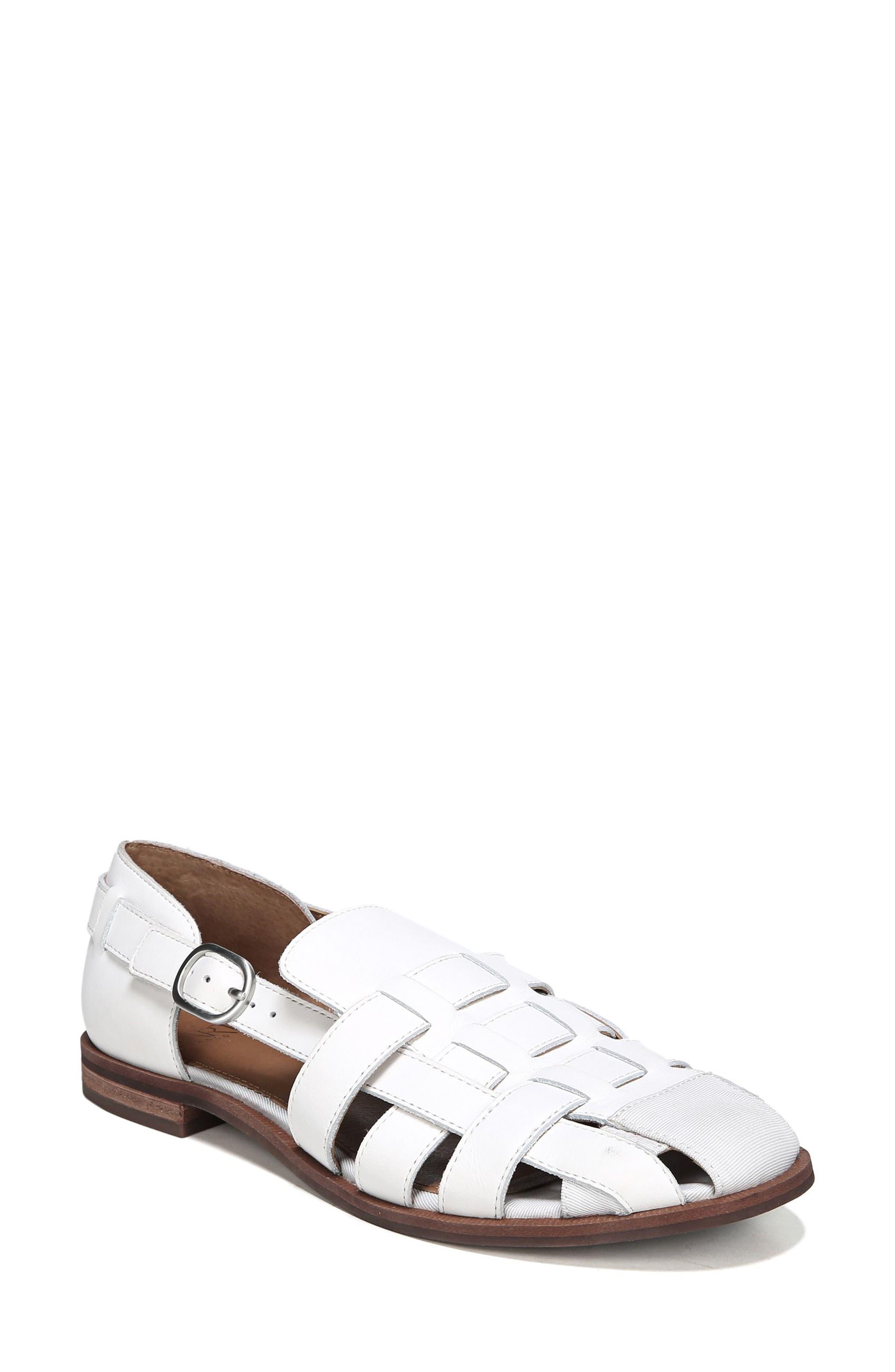 Lulu Fisherman Sandal,                         Main,                         color, Bright White Leather