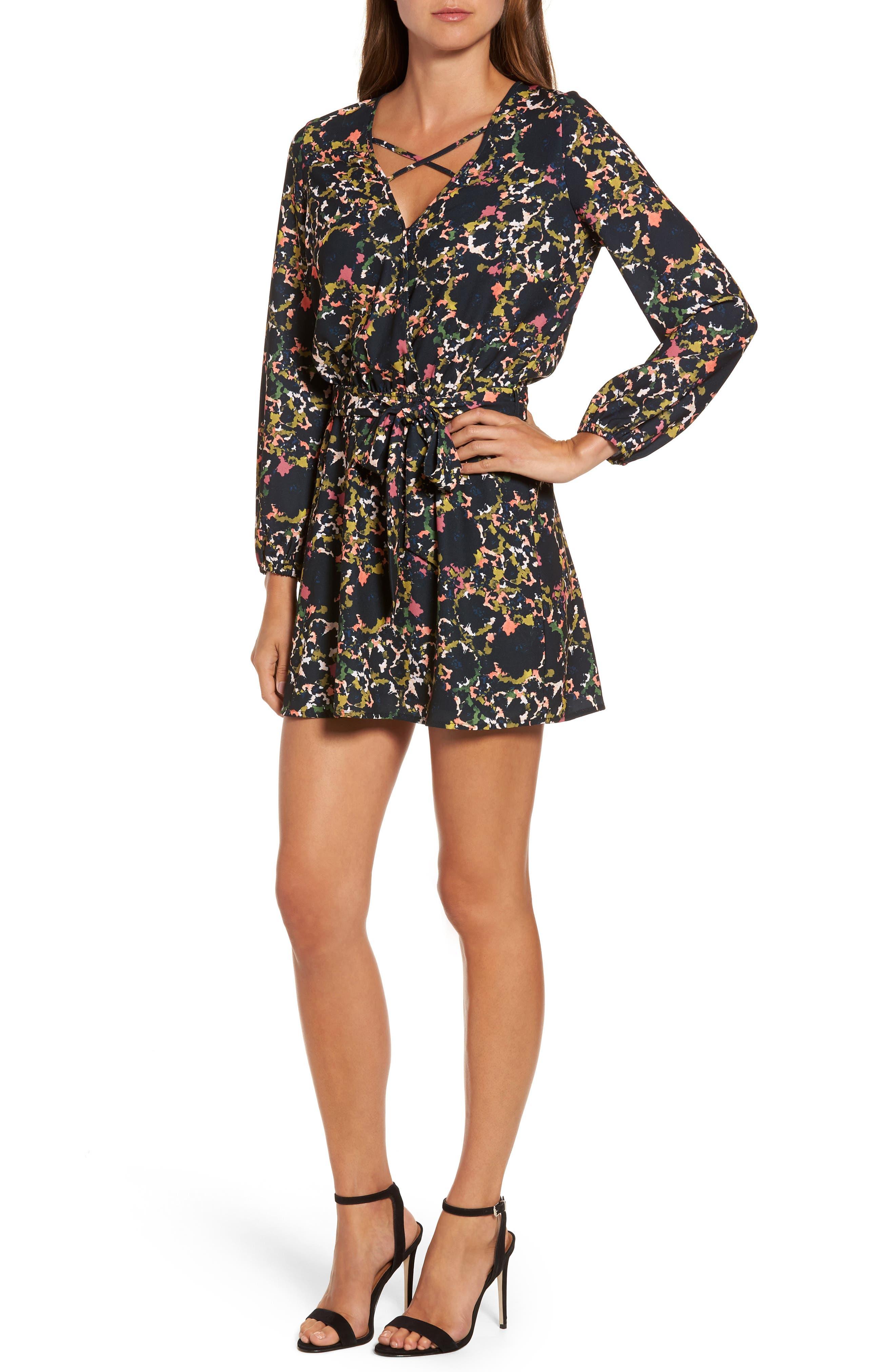 Print Crepe Minidress,                         Main,                         color, Fleur