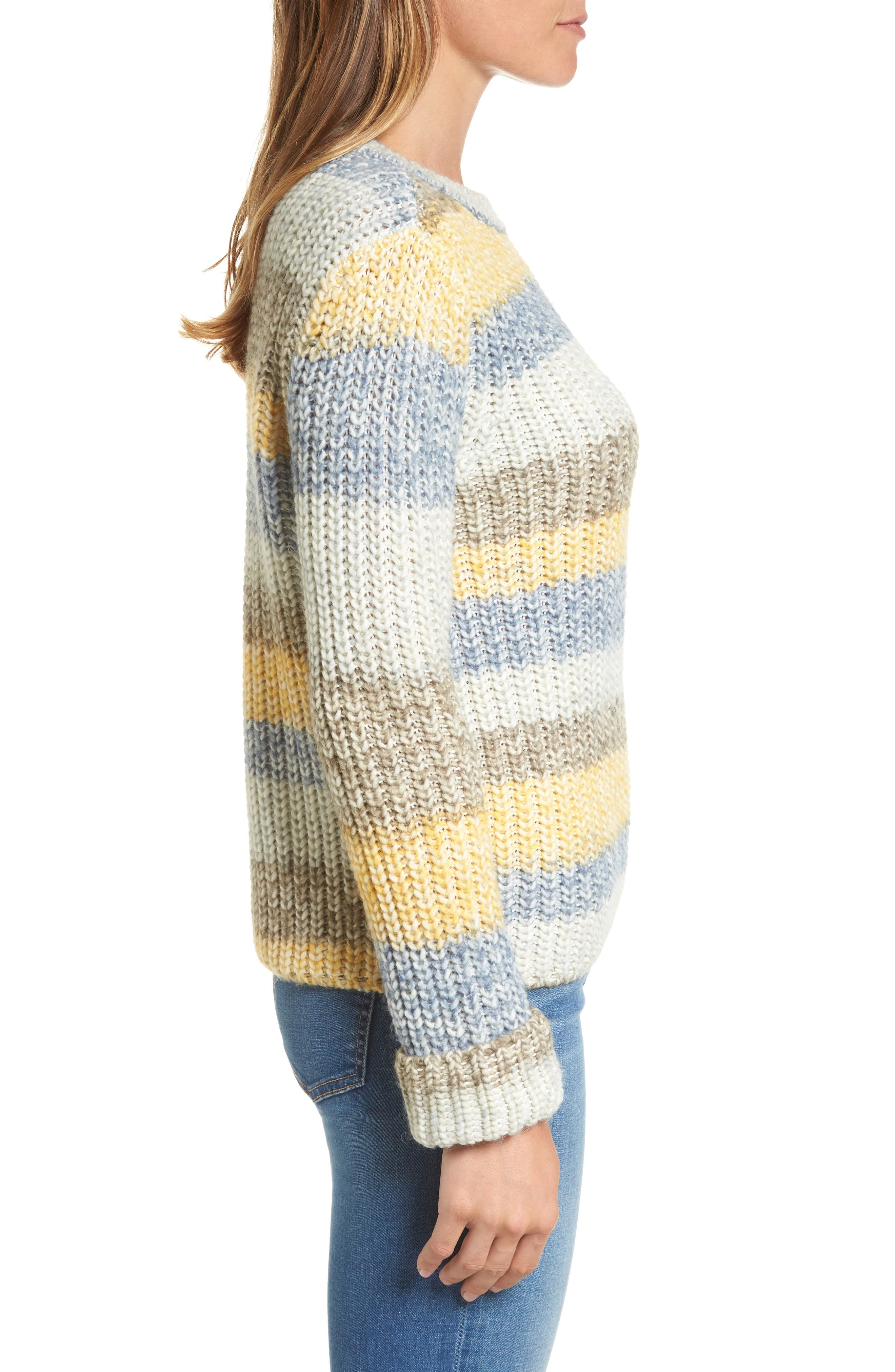 Hive Knit Fisherman Sweater,                             Alternate thumbnail 3, color,                             Sun Gold