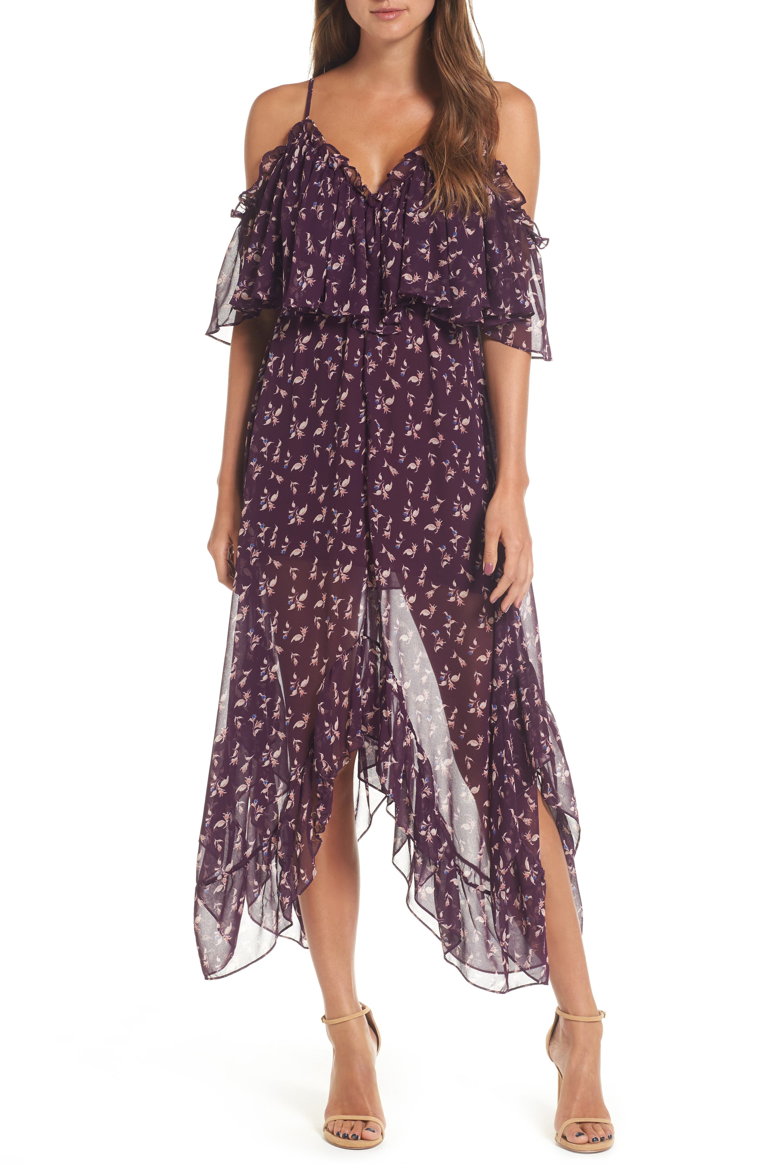 Desi Cold Shoulder Midi Dress,                         Main,                         color, Purple Multi