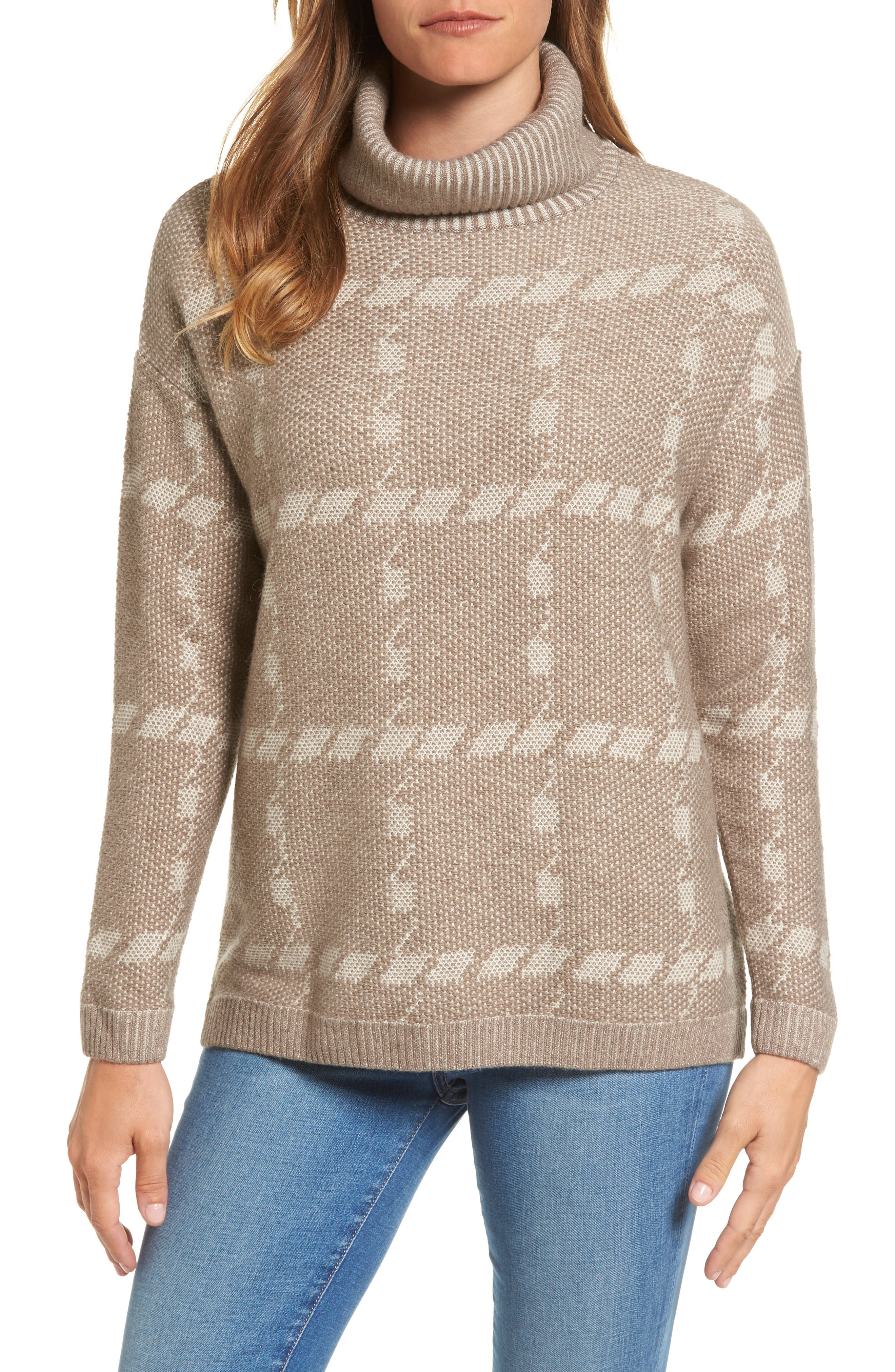 Glen Knit Merino Wool Blend Turtleneck Sweater,                             Main thumbnail 1, color,                             Taupe
