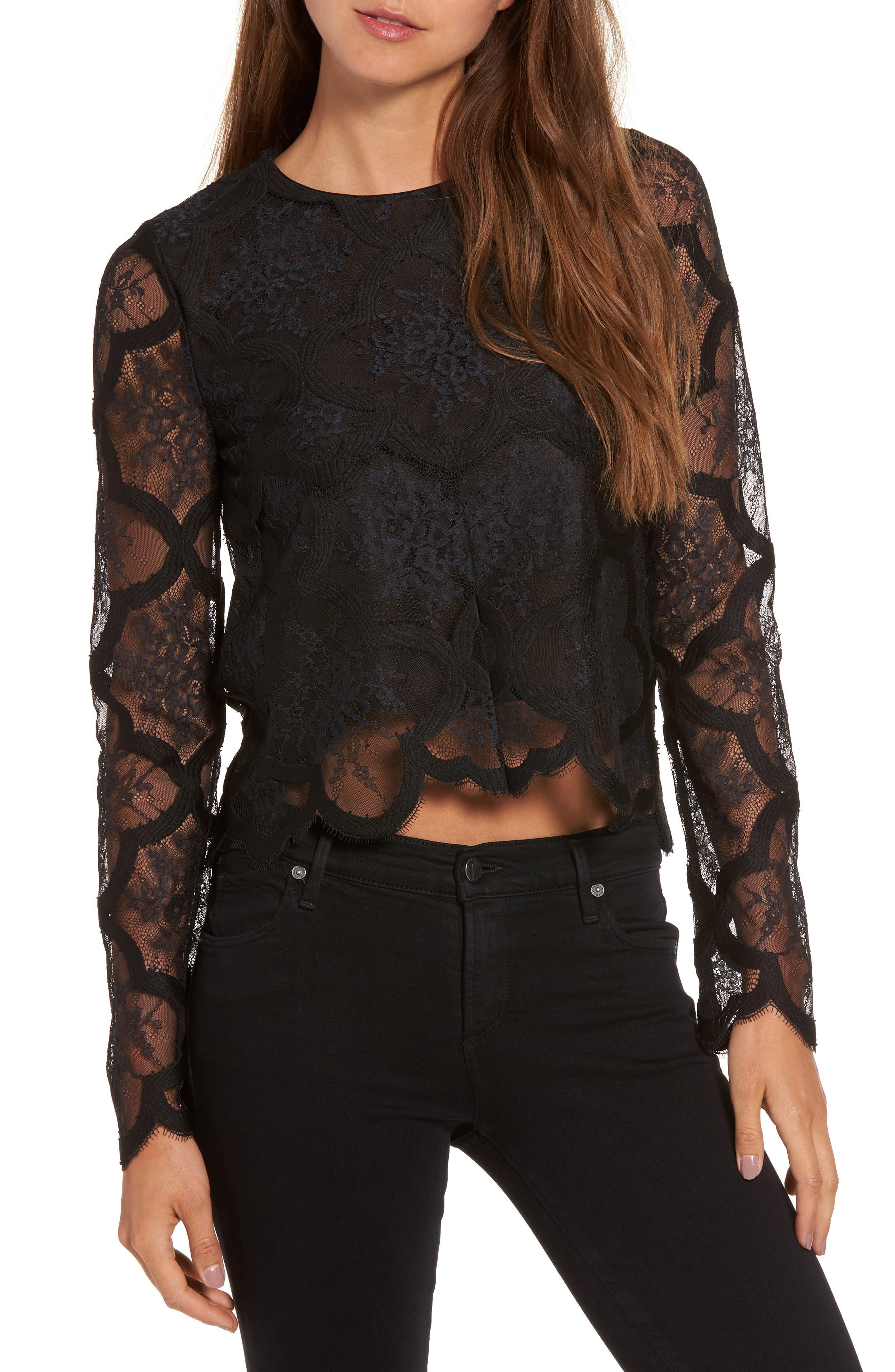 Lace Crop Top,                         Main,                         color, Black