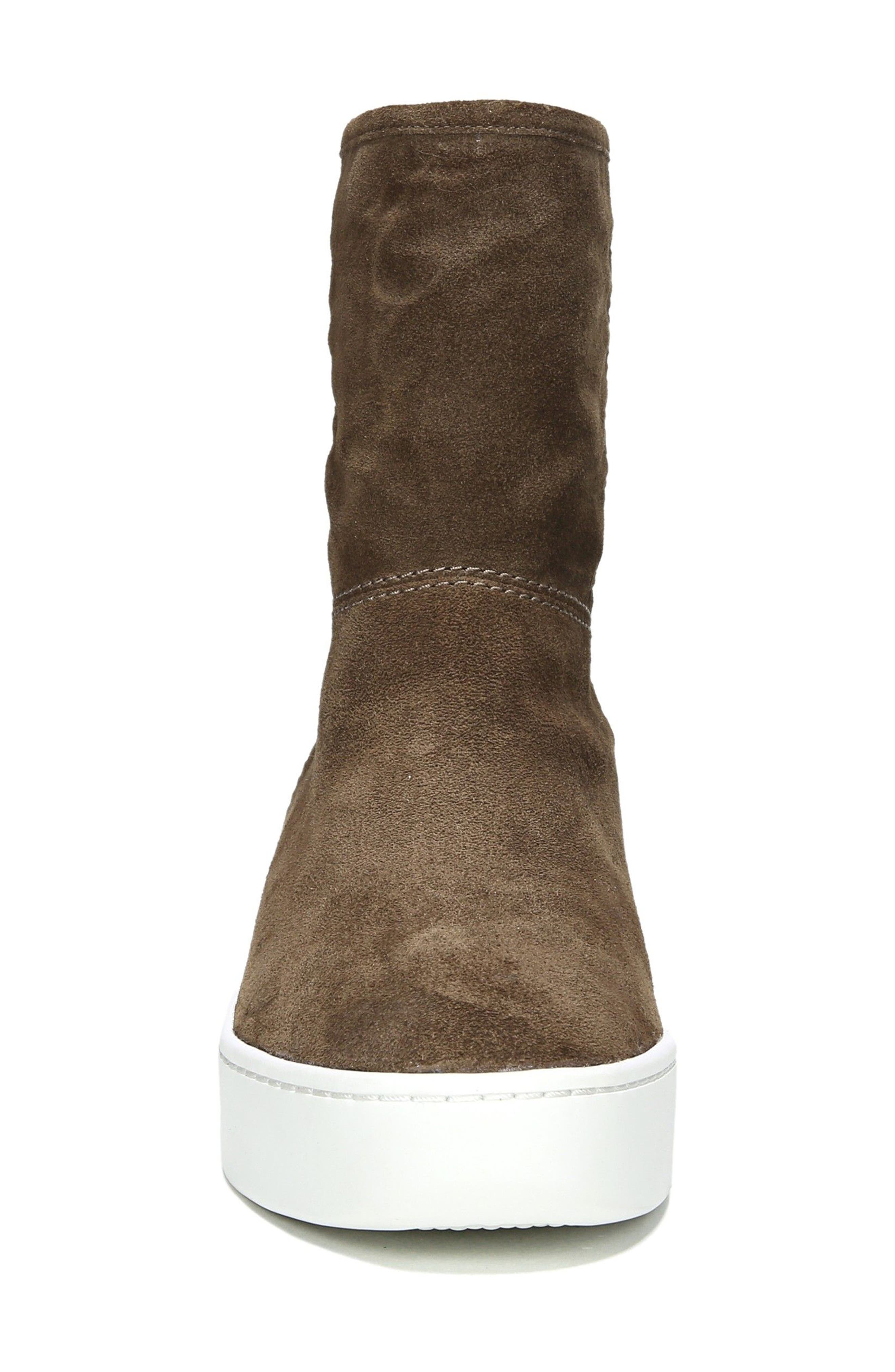 Elona Genuine Shearling Lined Sneaker Boot,                             Alternate thumbnail 4, color,                             Bark Suede