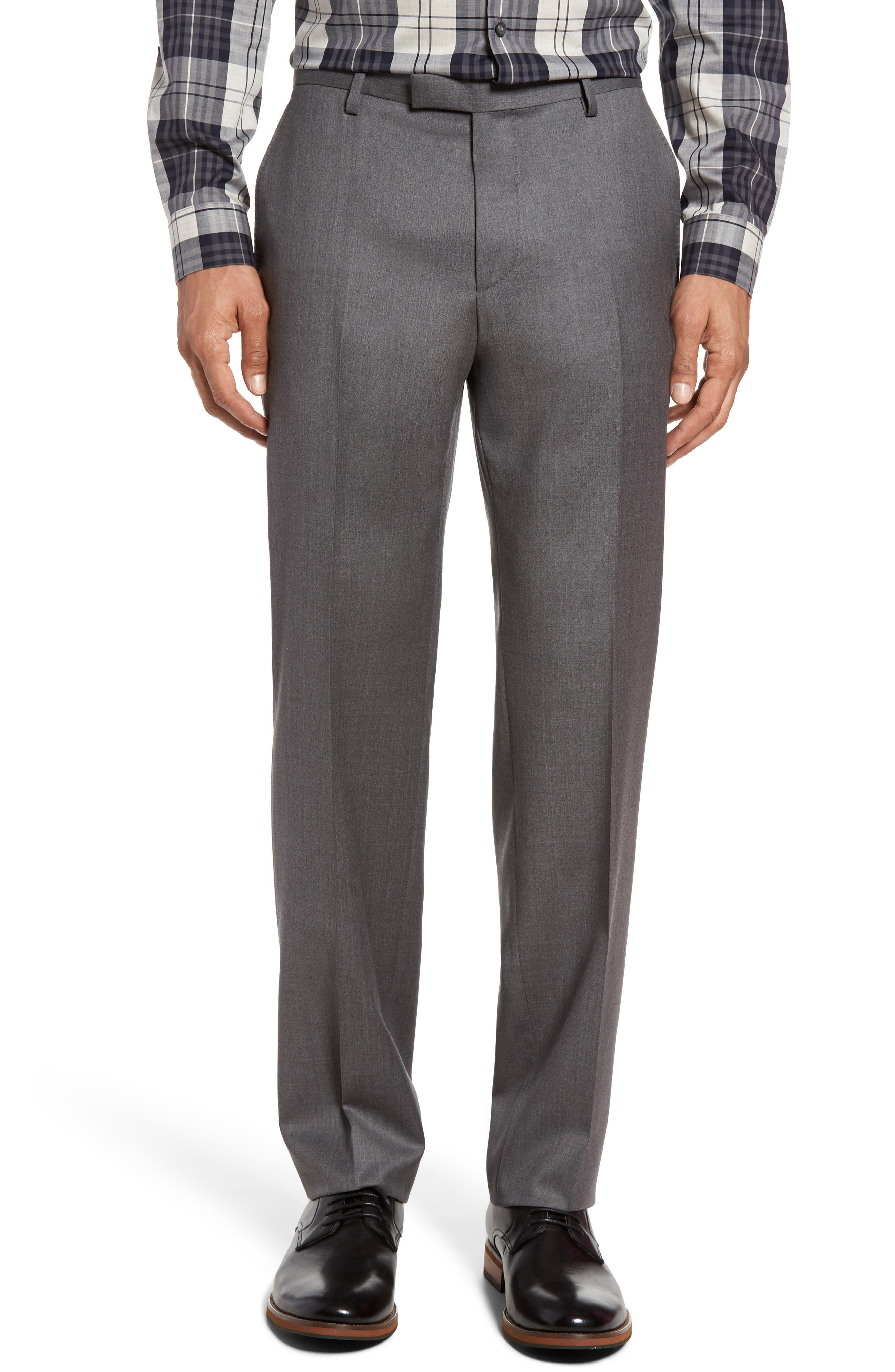 Leenon Flat Front Regular Fit Solid Wool Trousers,                         Main,                         color, Medium Grey