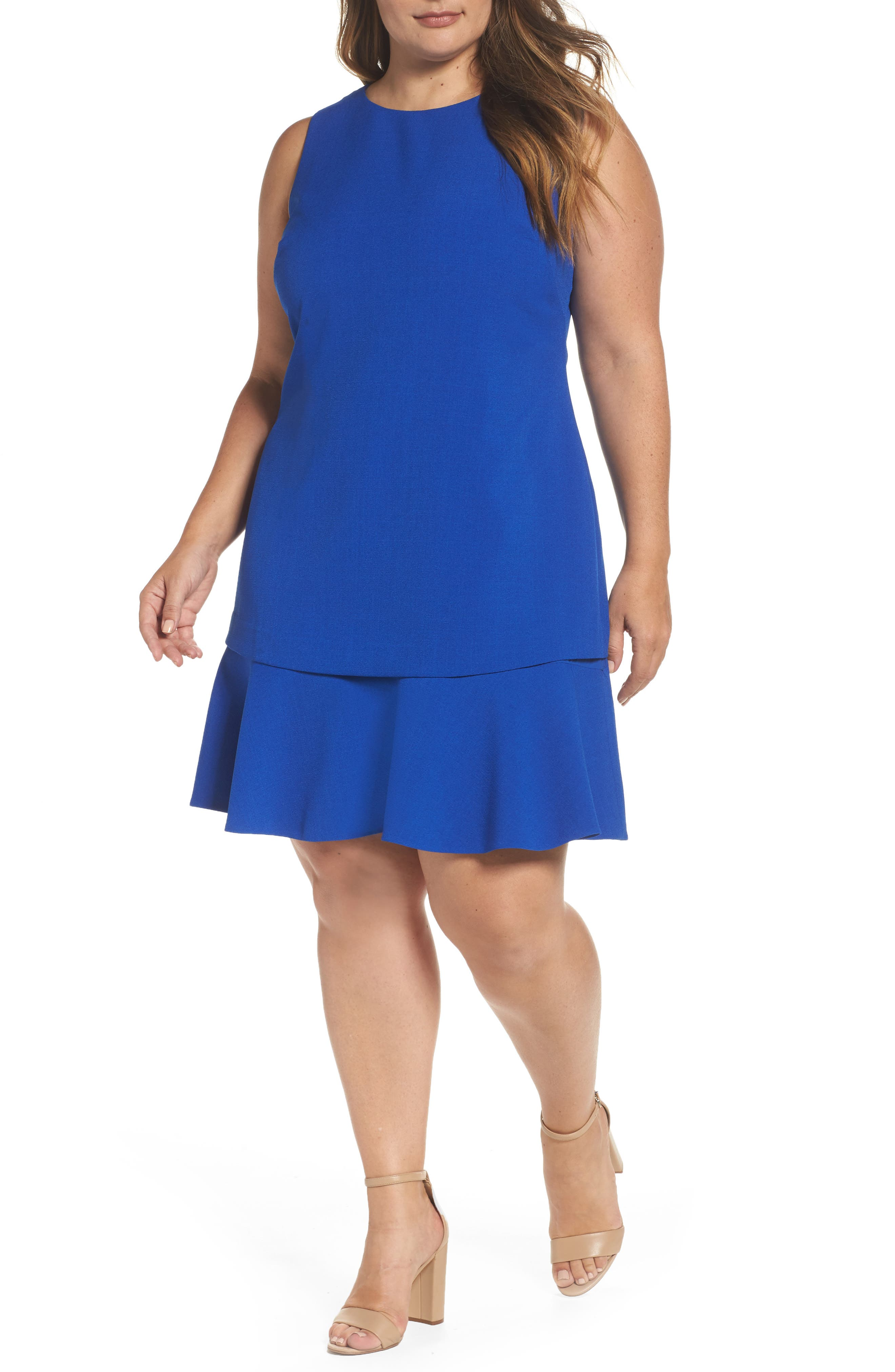 Main Image - Eliza J Tiered Drop Waist A-Line Dress (Plus Size)