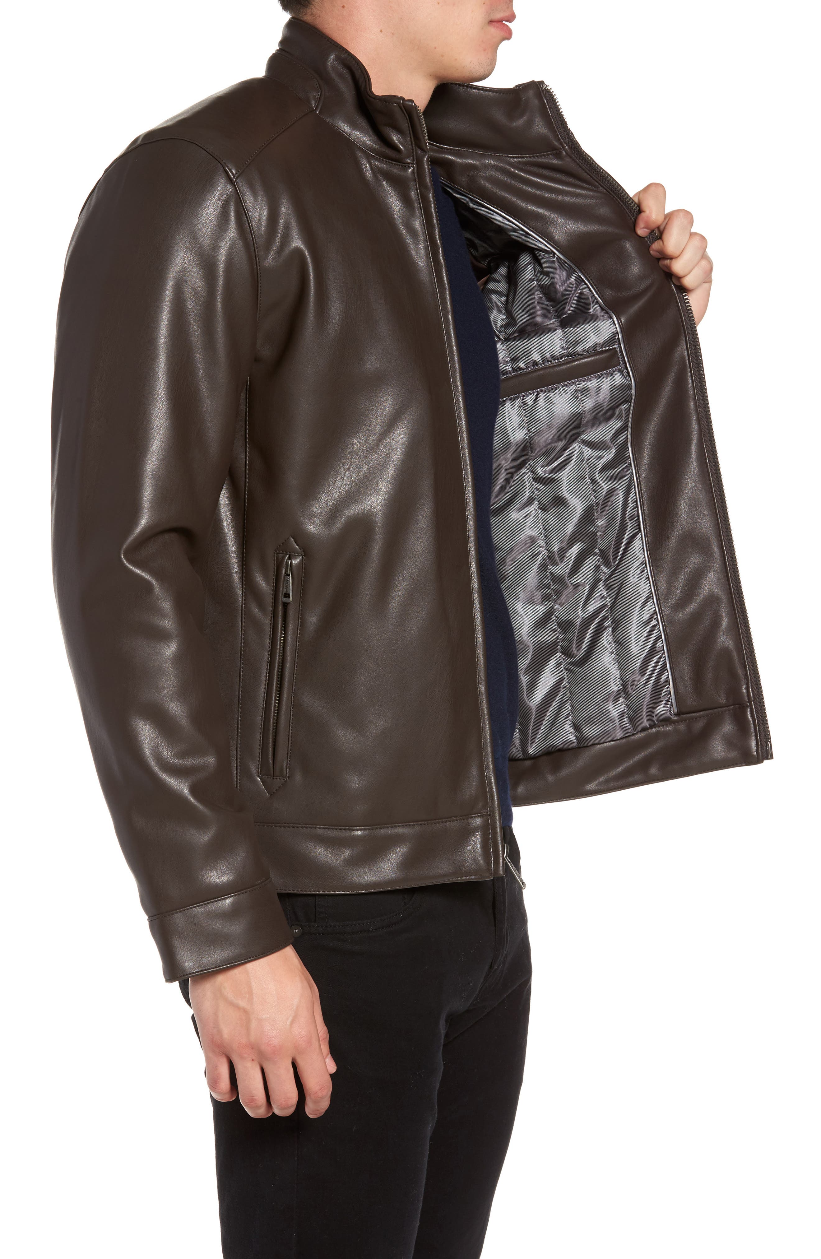 Faux Leather Jacket,                             Alternate thumbnail 3, color,                             Dark Brown