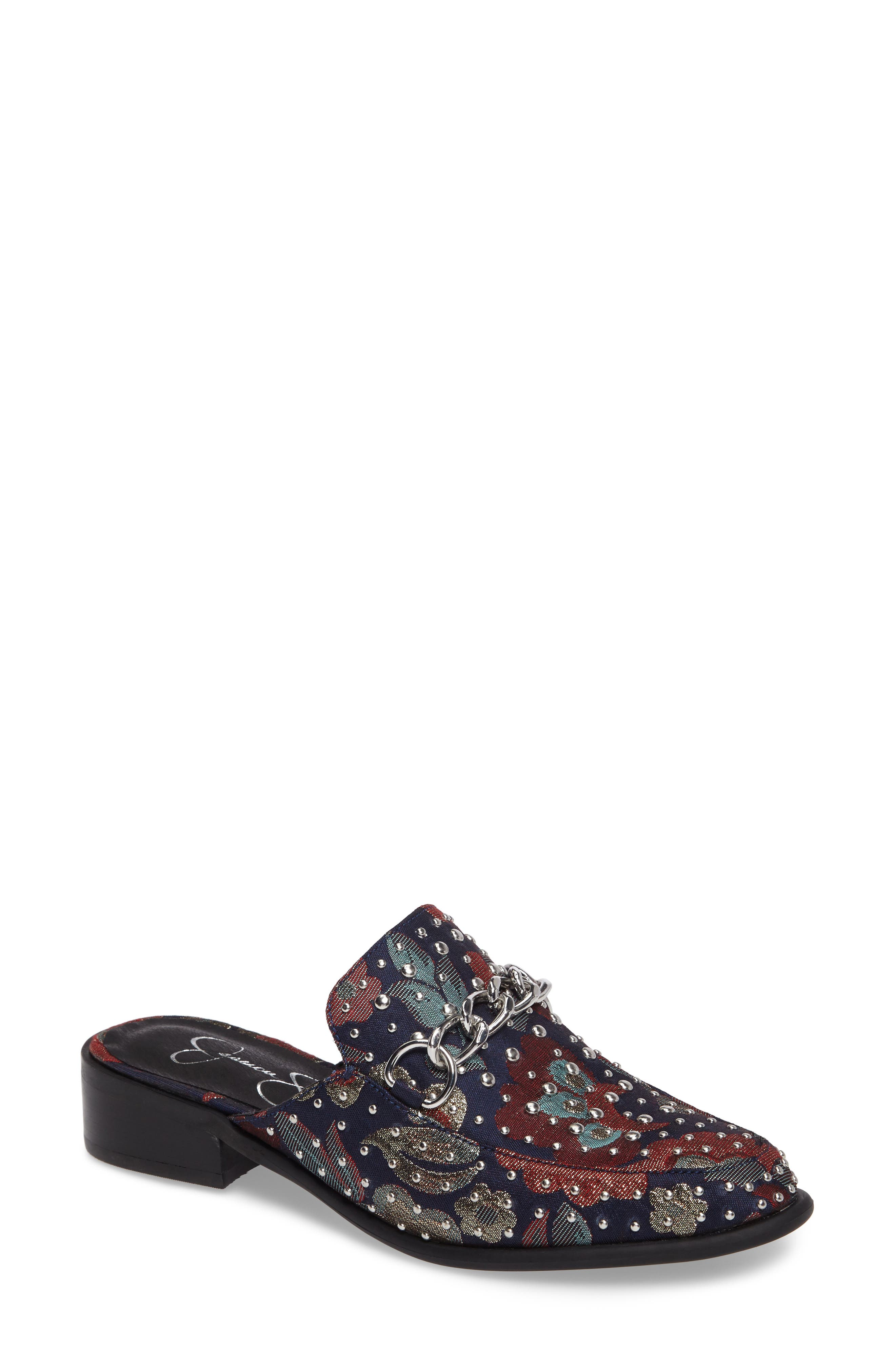 Beez Loafer Mule,                             Main thumbnail 1, color,                             Blue Multi Brocade Fabric