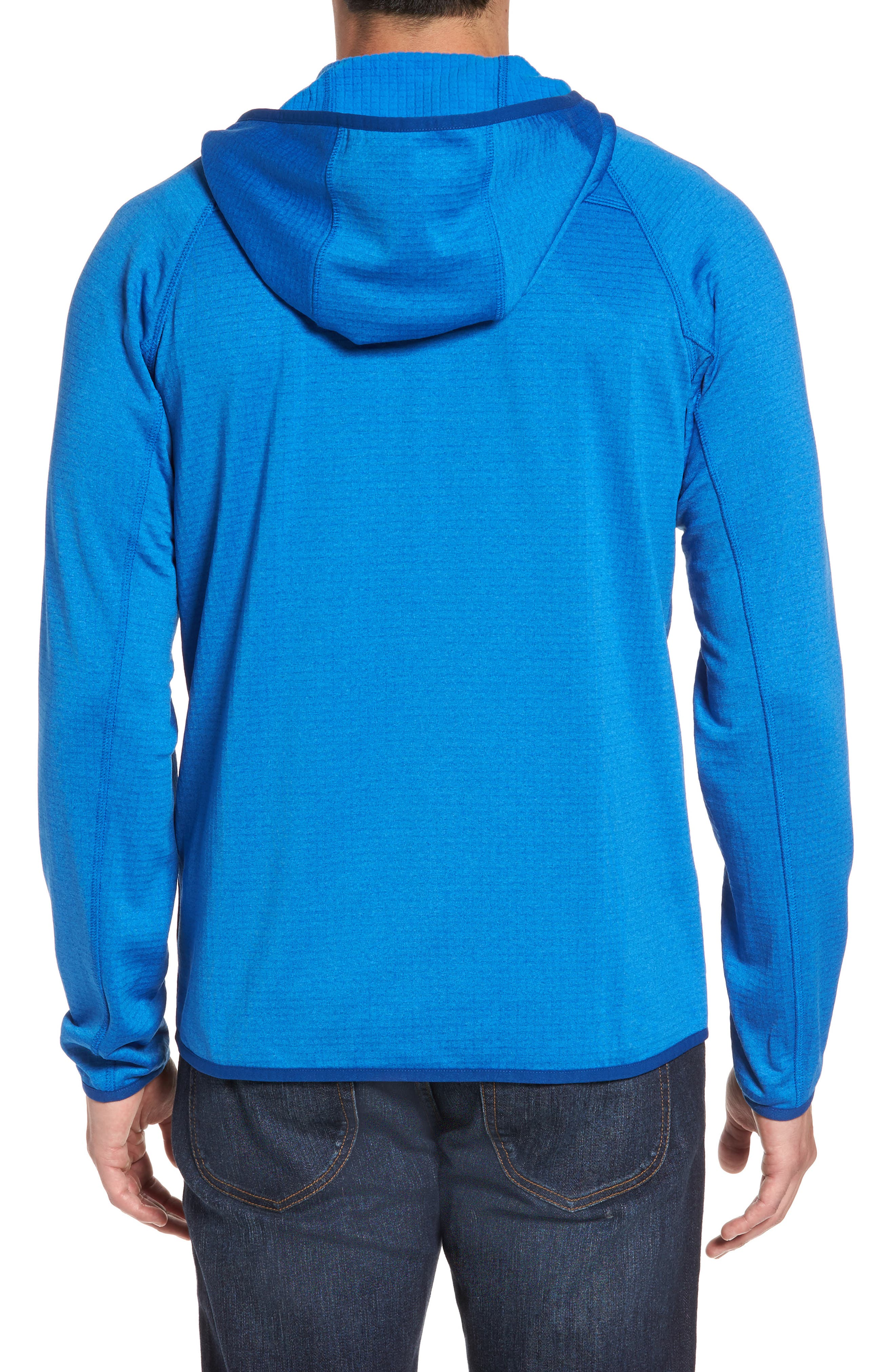 Grid Full Zip Fleece Hoodie,                             Alternate thumbnail 2, color,                             Regatta Blue